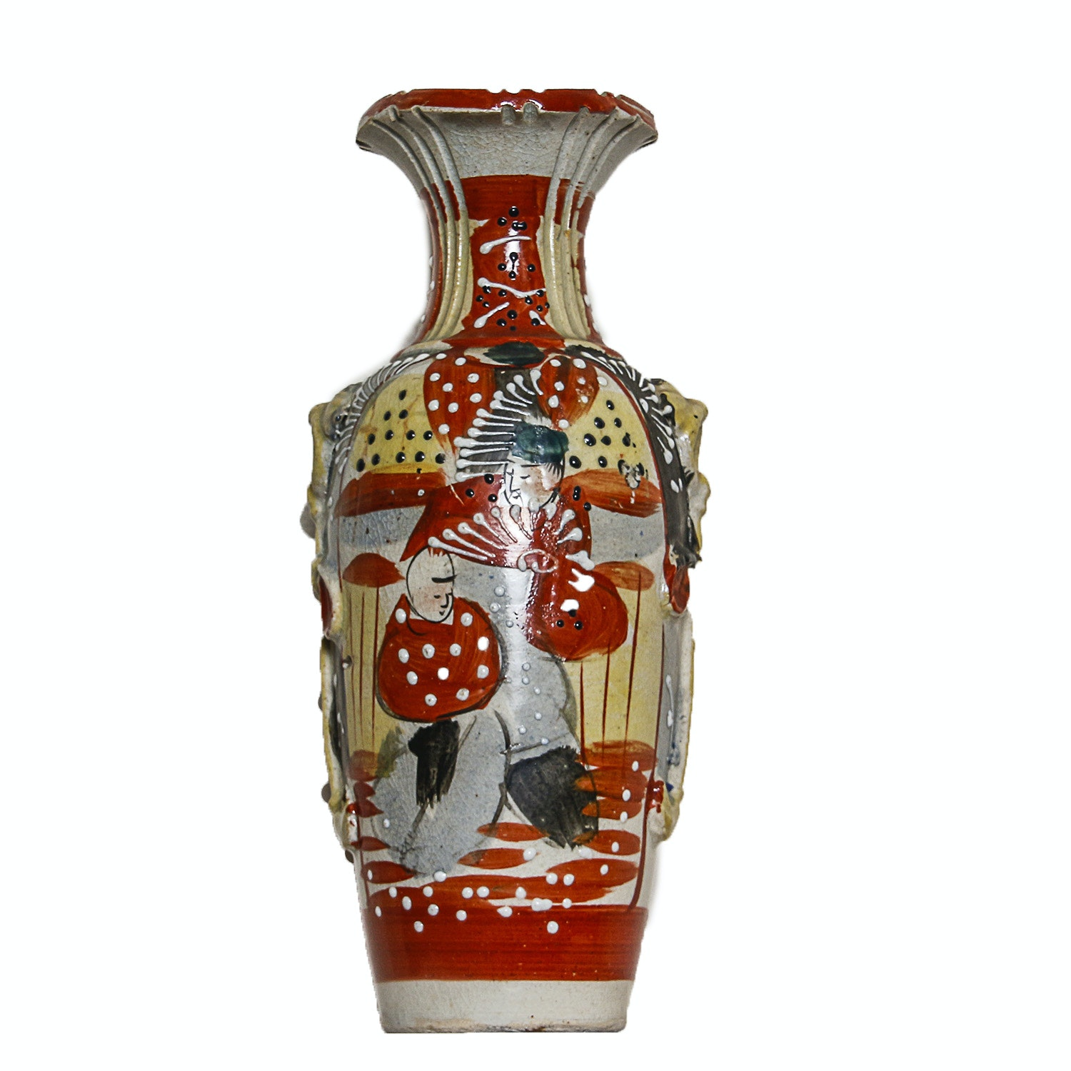 Japanese Hand-Painted Ceramic Vase with Moriage Accents