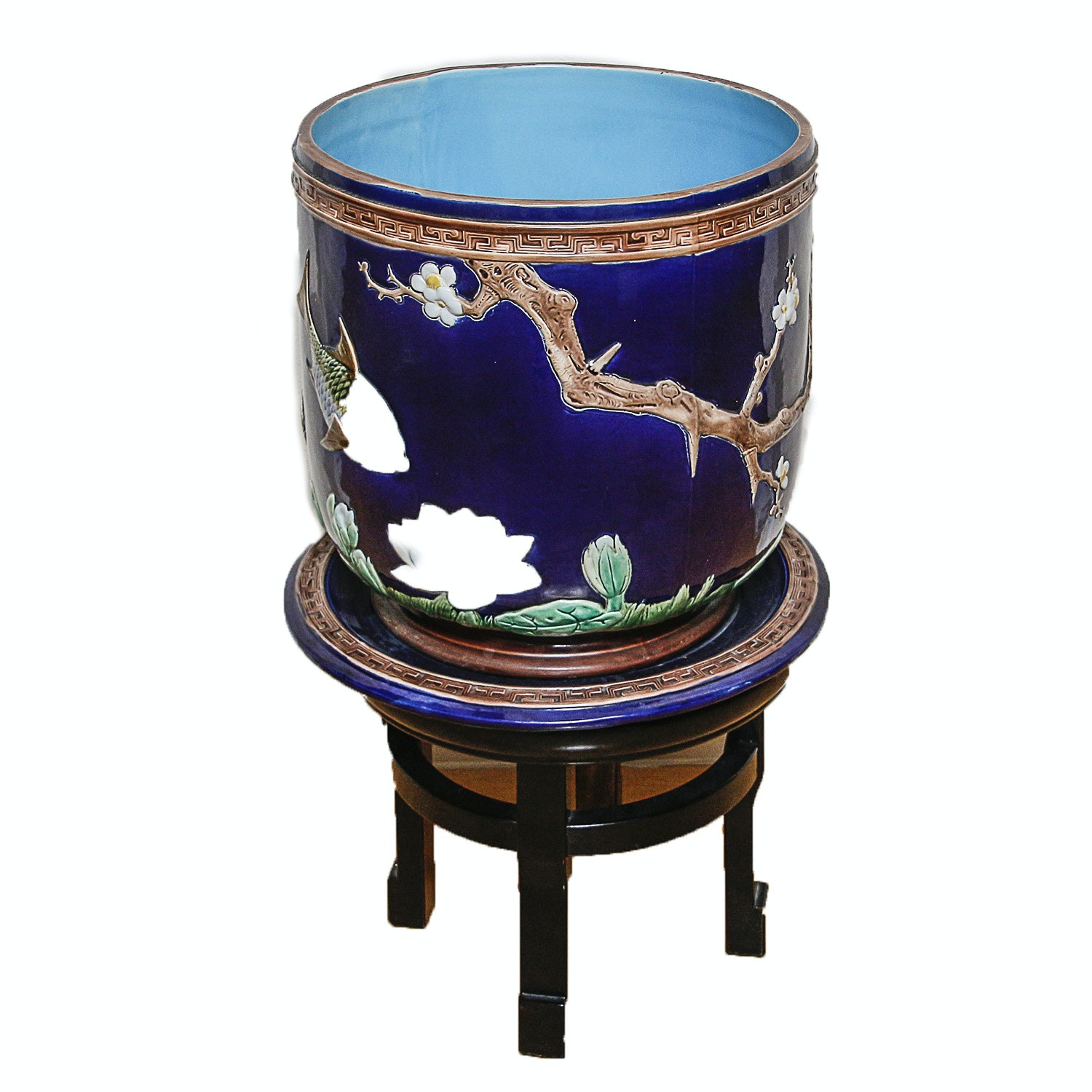 Chinese Hand-Painted Cobalt Ceramic Planter and Carved Wood Stand