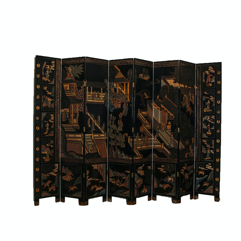 Chinese Coromandel Lacquer Eight Panel Screen