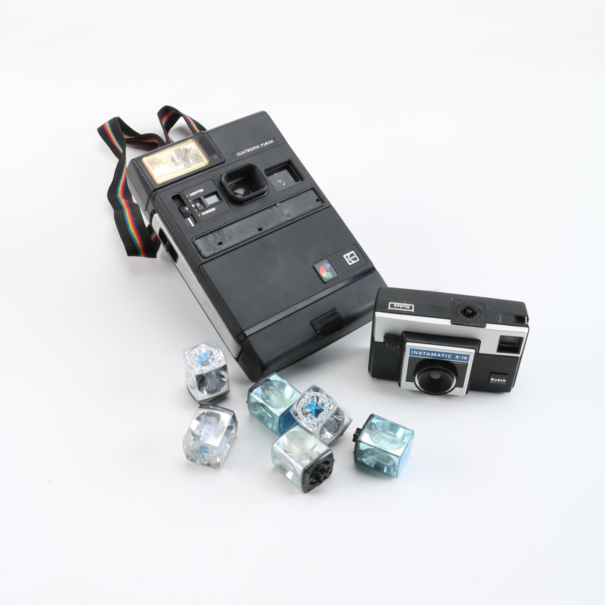 Vintage Kodak Colorburst 250 and Instamatic X-15 Cameras
