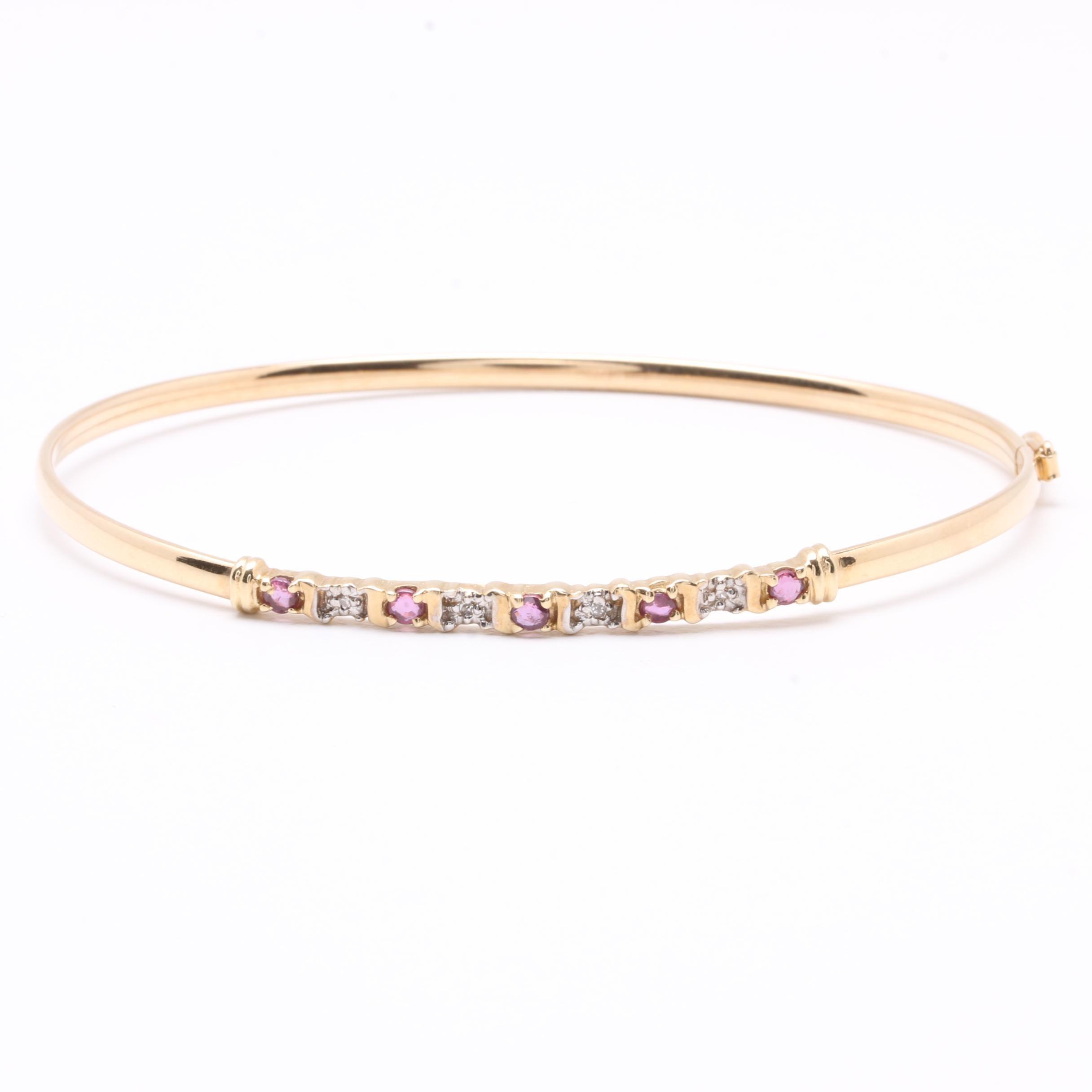 10K Yellow Gold Ruby and Diamond Hinged Bangle Bracelet