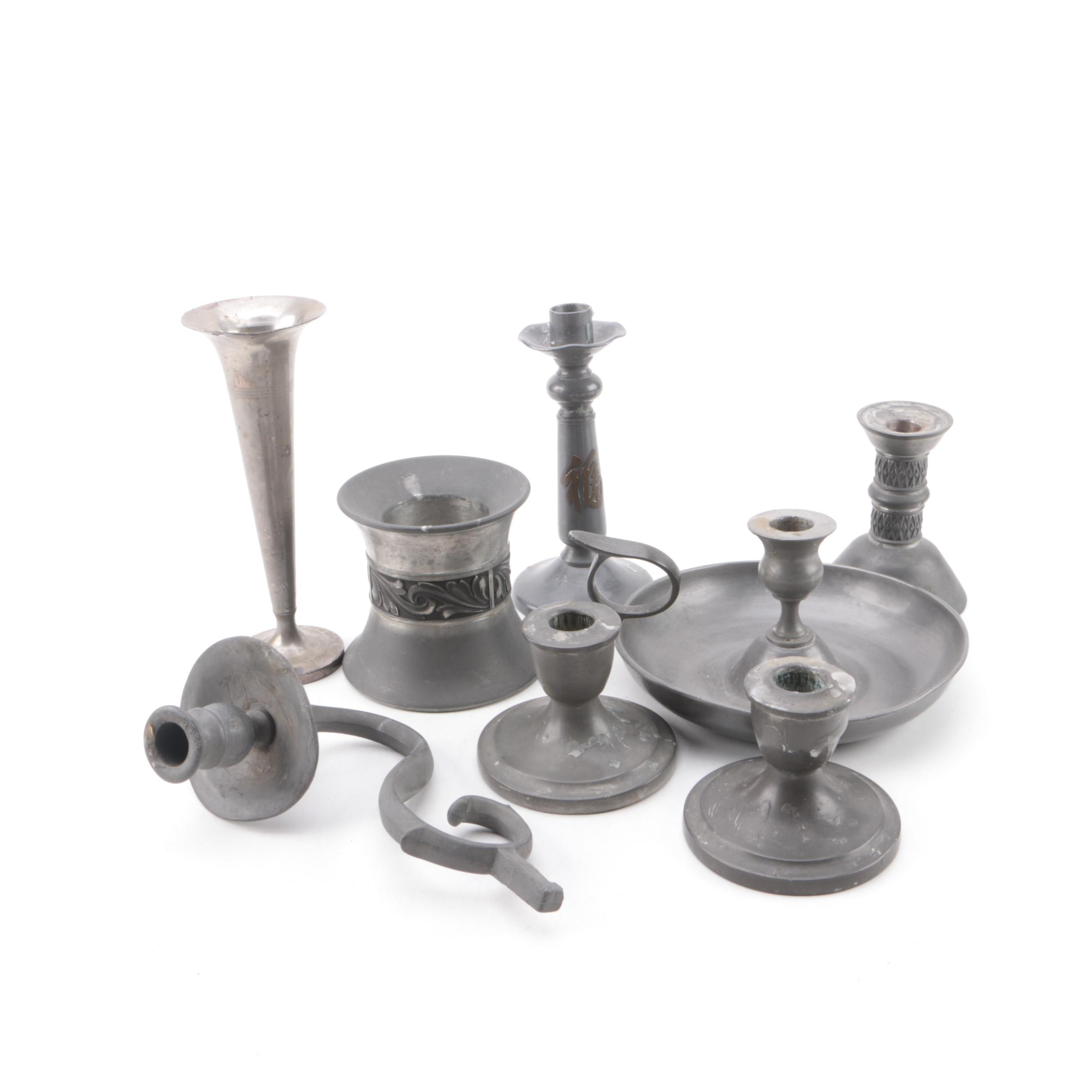 Pewter Candlestick Holders and Vase including Peltro and Real Gotham