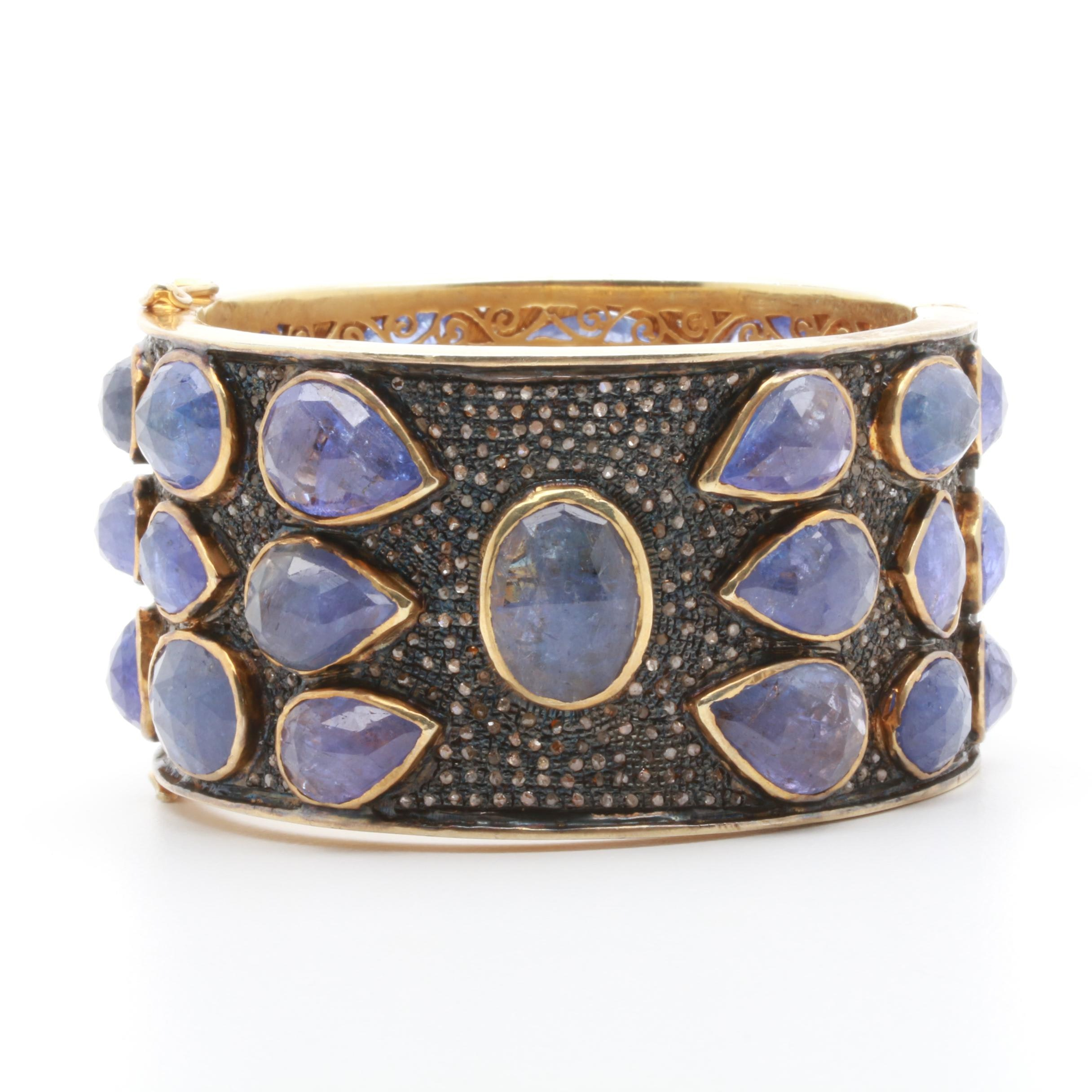 Gold Wash on Sterling Silver Tanzanite and Diamond Bracelet