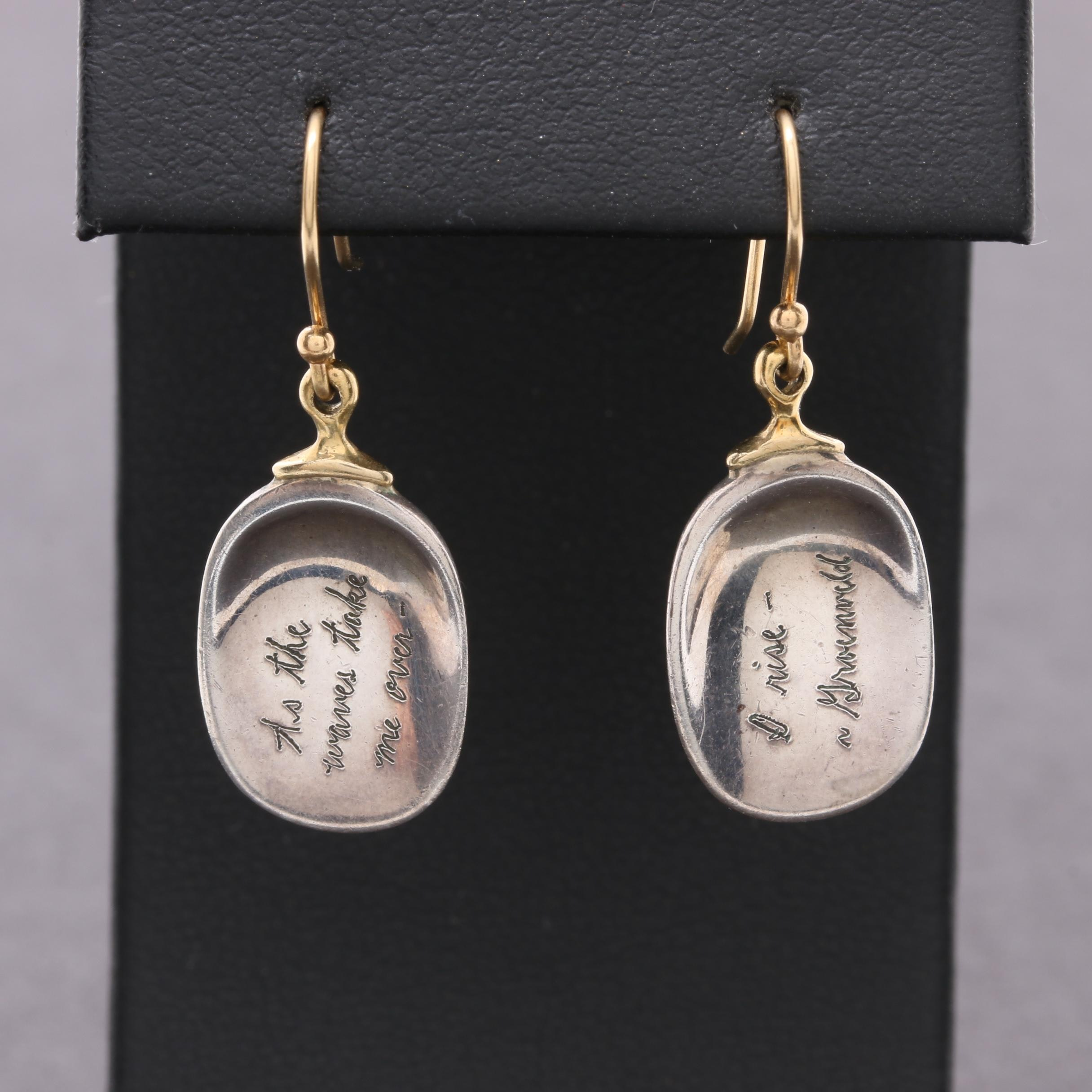 Jeanine Payer Sterling Silver and 18K Yellow Gold Earrings with Poetic Quote
