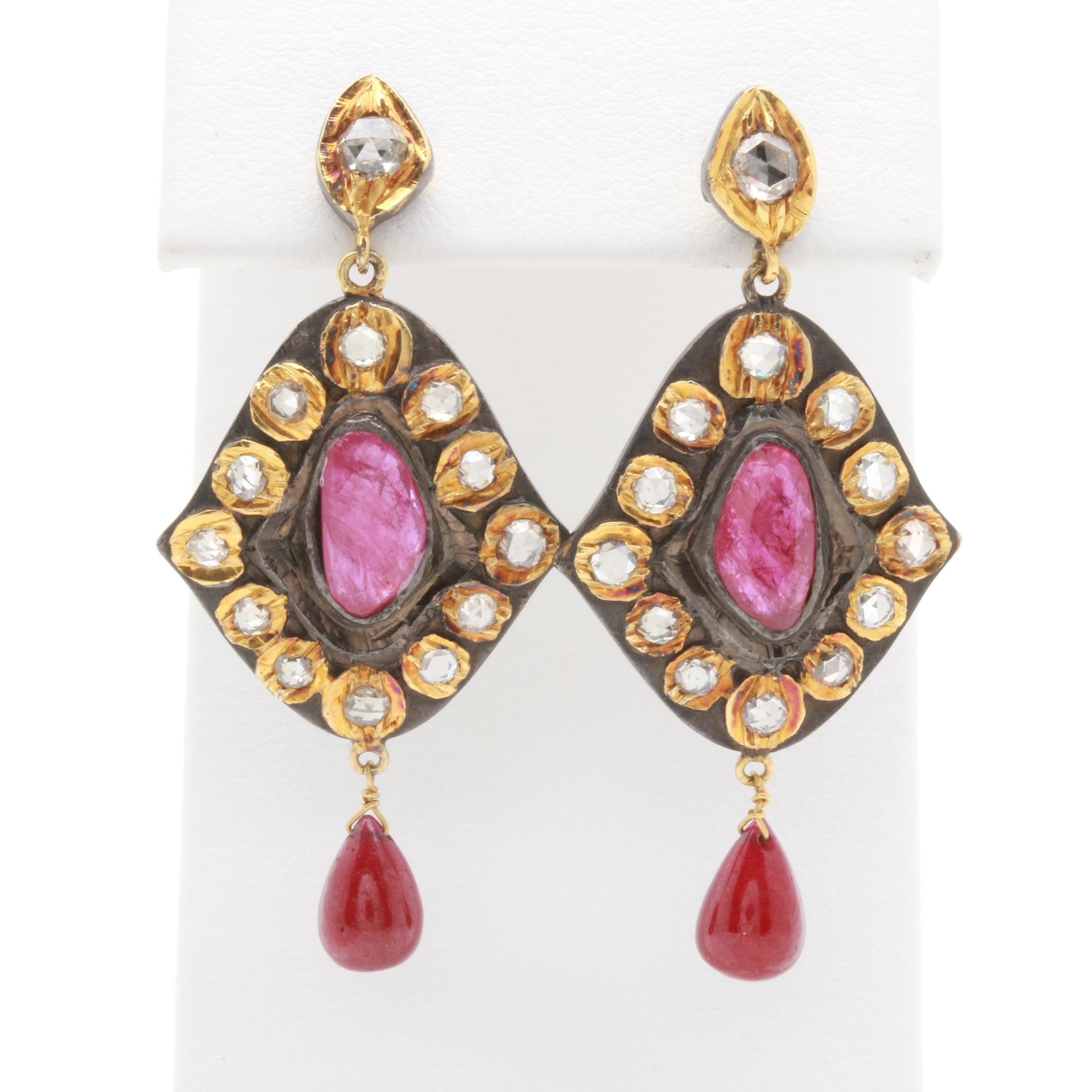 Sterling Silver Ruby and Diamond Earrings with Gold Wash Accents