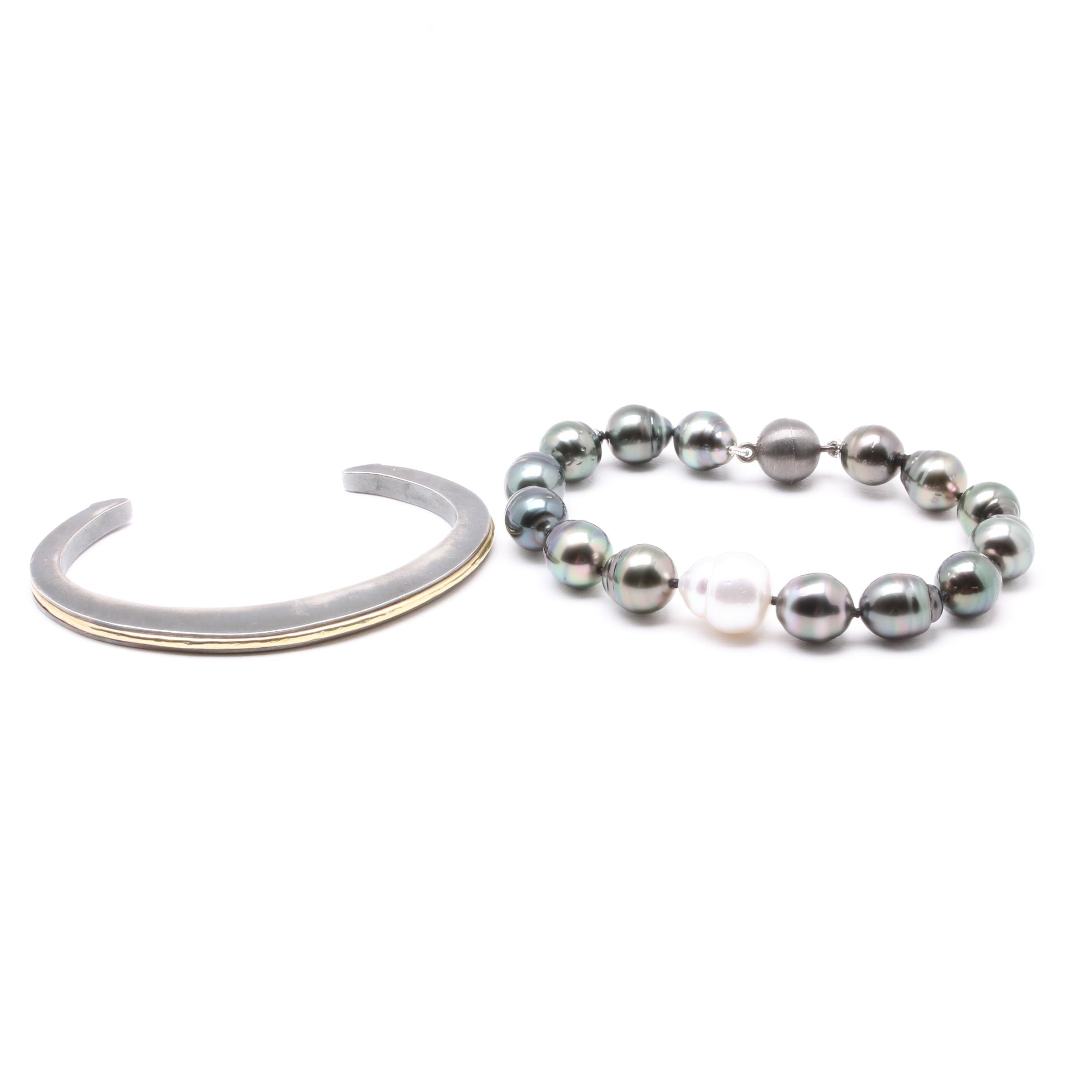 Sterling Silver Bracelet Selection Including Cultured Pearl