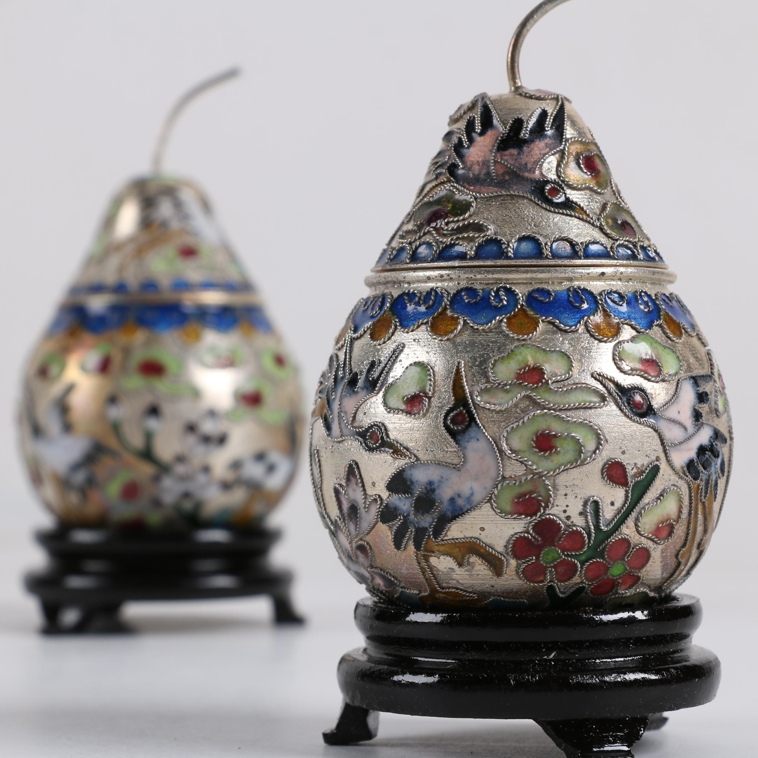 Chinese Cloisonné Pear-Shaped Trinket Boxes with Wood Stands