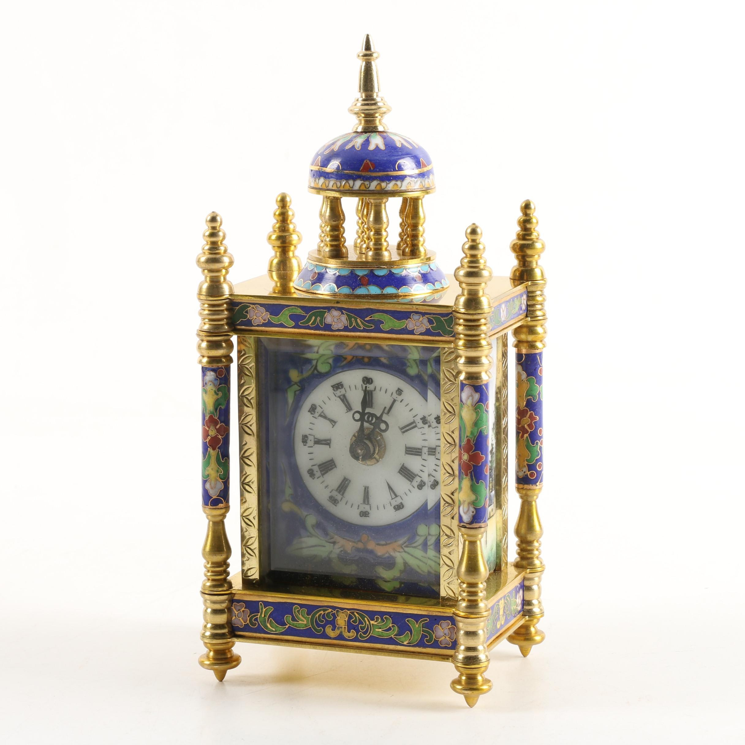Chinese Cloisonné Empire Style Cloisonné Shelf Clock with Hand-Painted Face
