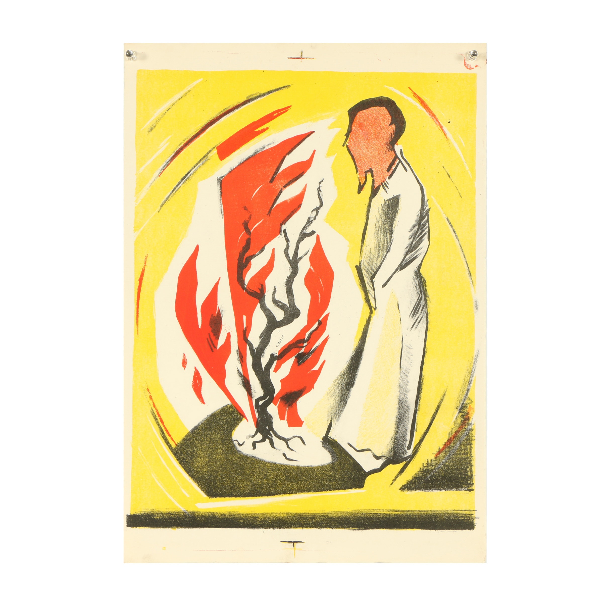 """Arthur Helwig Lithograph """"Moses and the Burning Bush"""""""