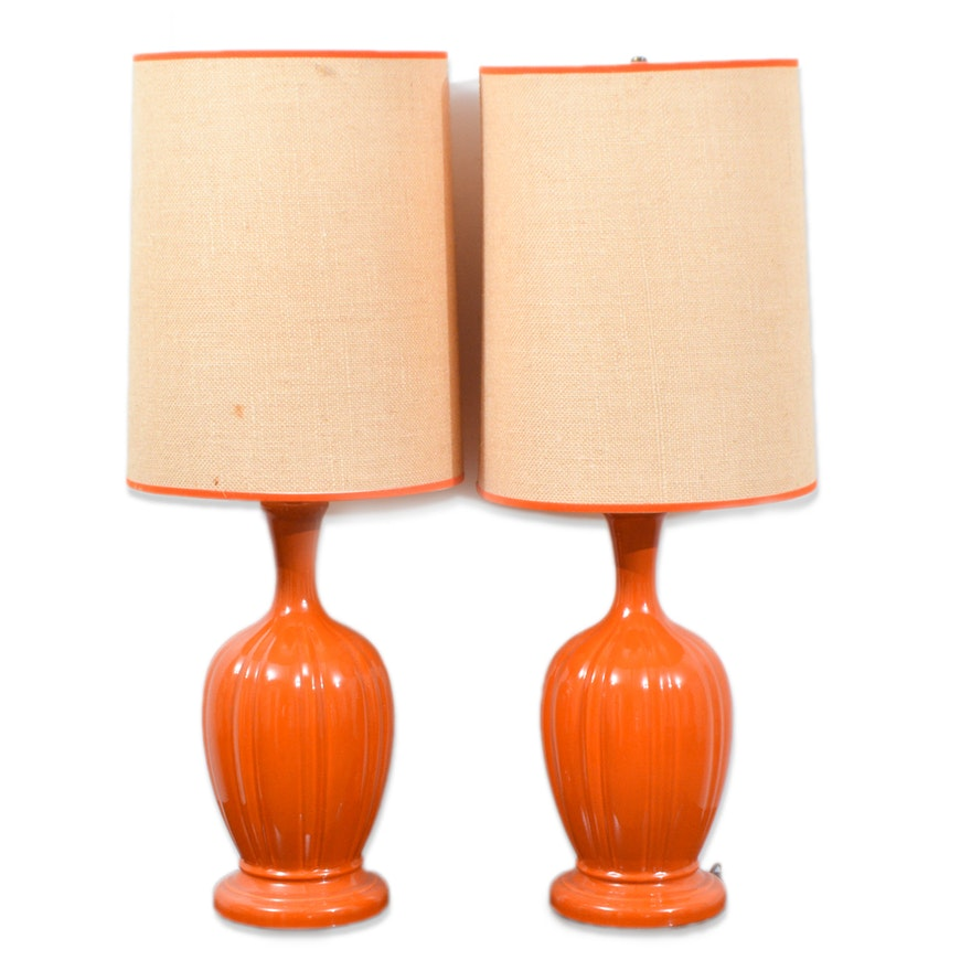 Mid Century Modern Orange Ceramic Table Lamps Ebth