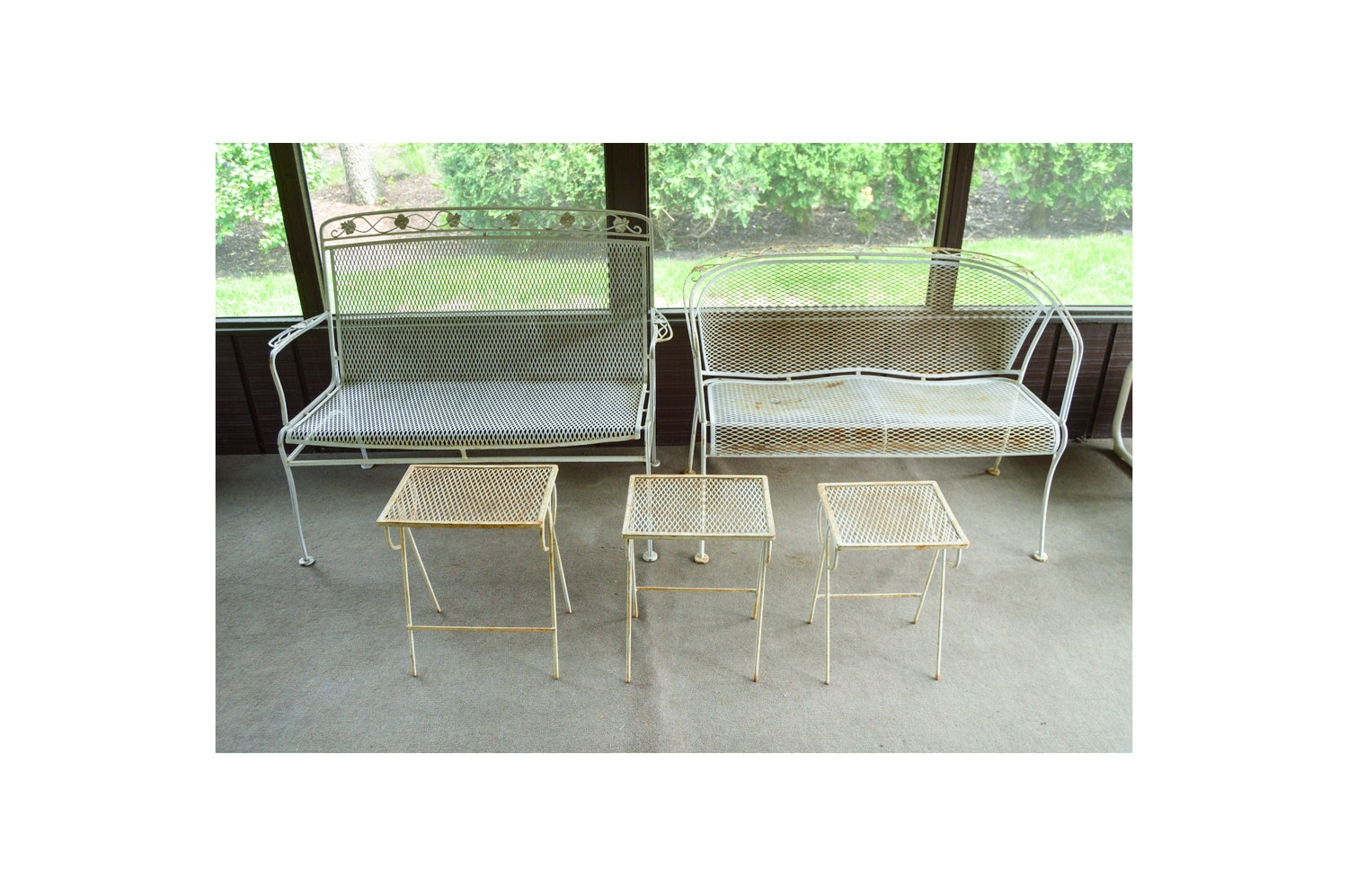 Vintage Metal Patio Benches and Nesting Table Set