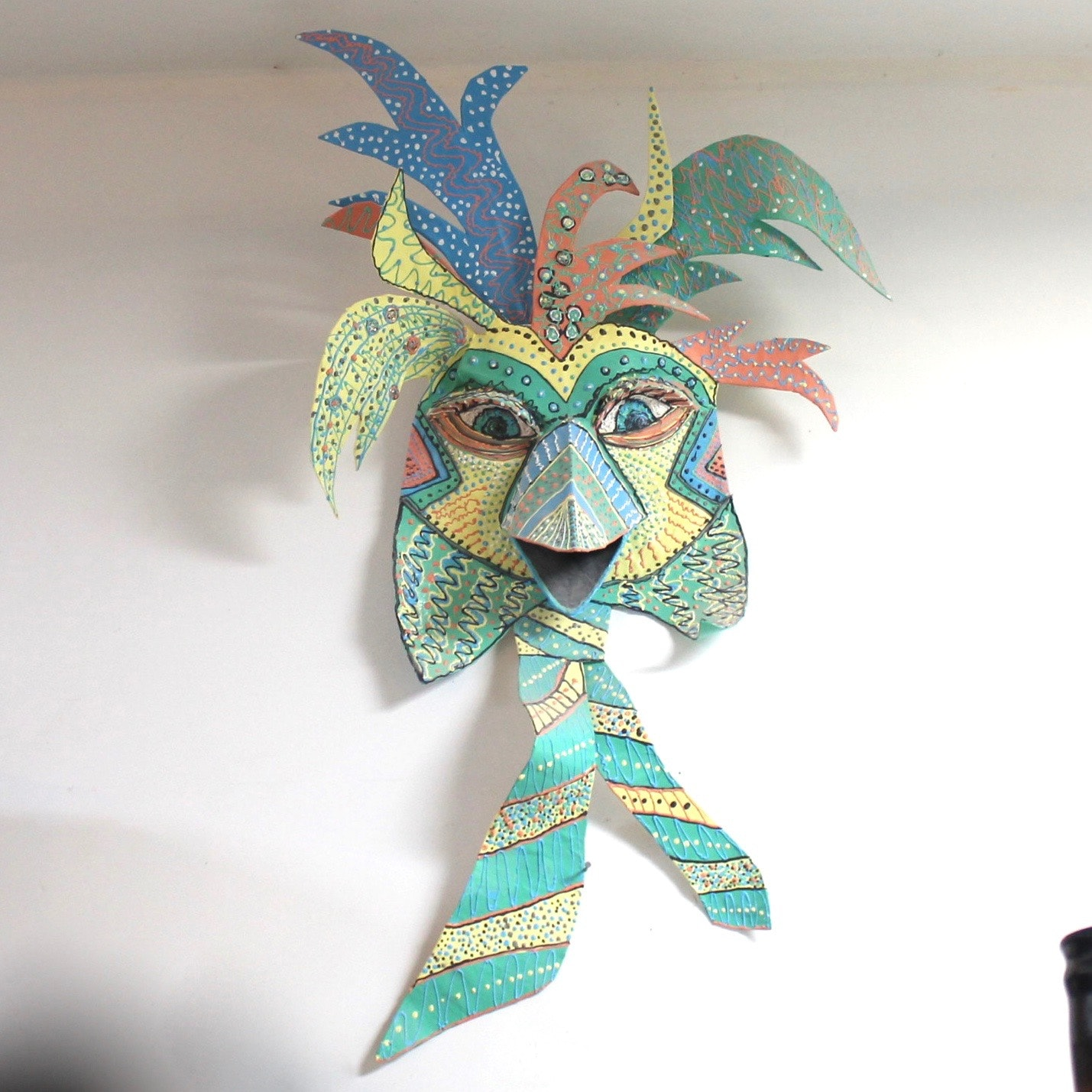 Ornate Hand Crafted Paper Mache Bird Mask