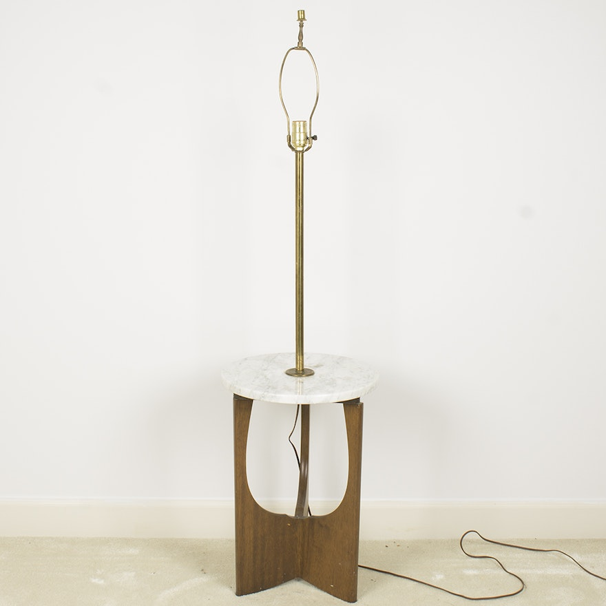 Mid Century Modern Wooden Floor Lamp With Marble Table Top Ebth