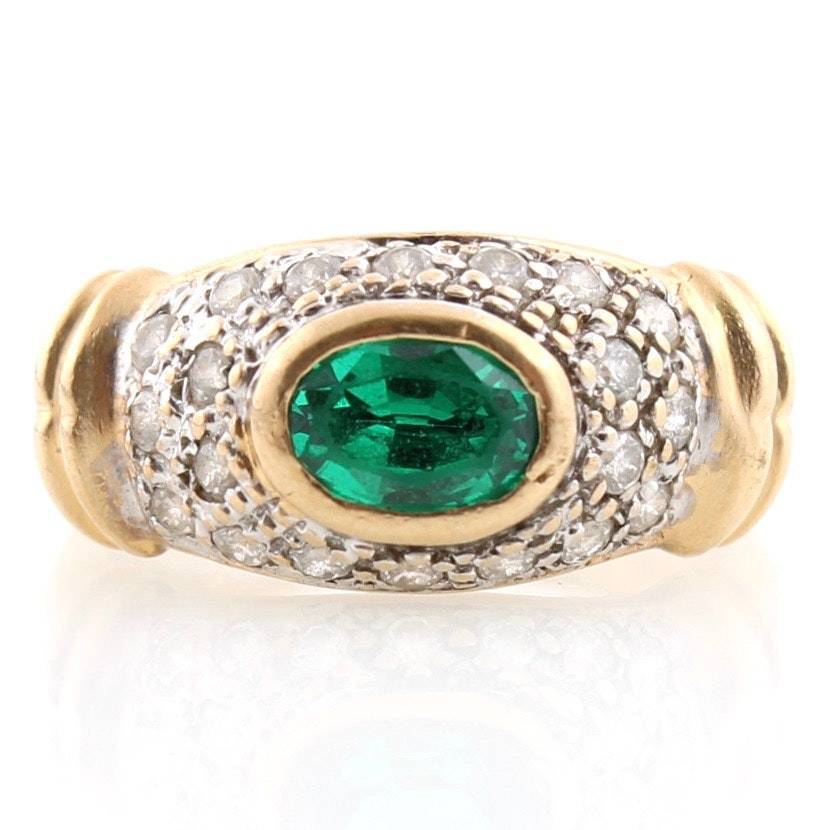 14K Yellow Gold Ring with Emerald and Cubic Zirconia