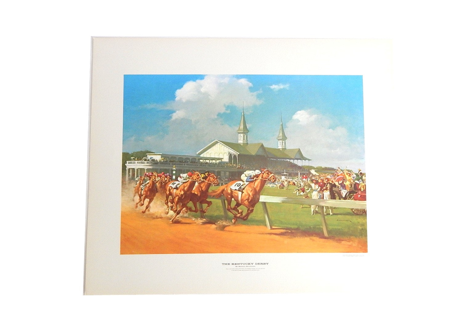 "Unframed 1963 Robert Hensley Offset Lithograph Print ""The Kentucky Derby"""