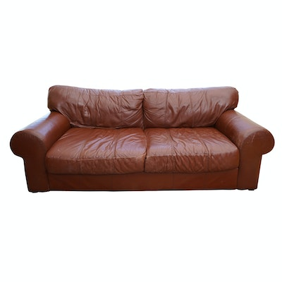 Brown Leather Sofa by Leather Mart - Online Furniture Auctions Vintage Furniture Auction Antique