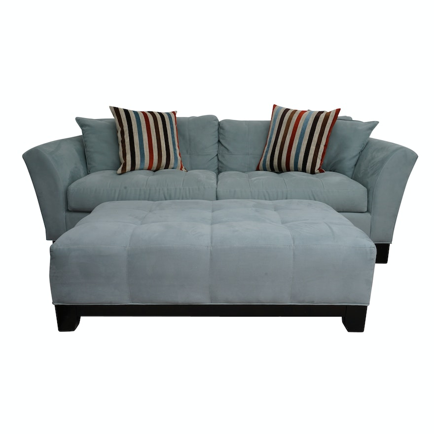 Contemporary Grey Suede Upolstered Sofa With Ottoman By H M Richards