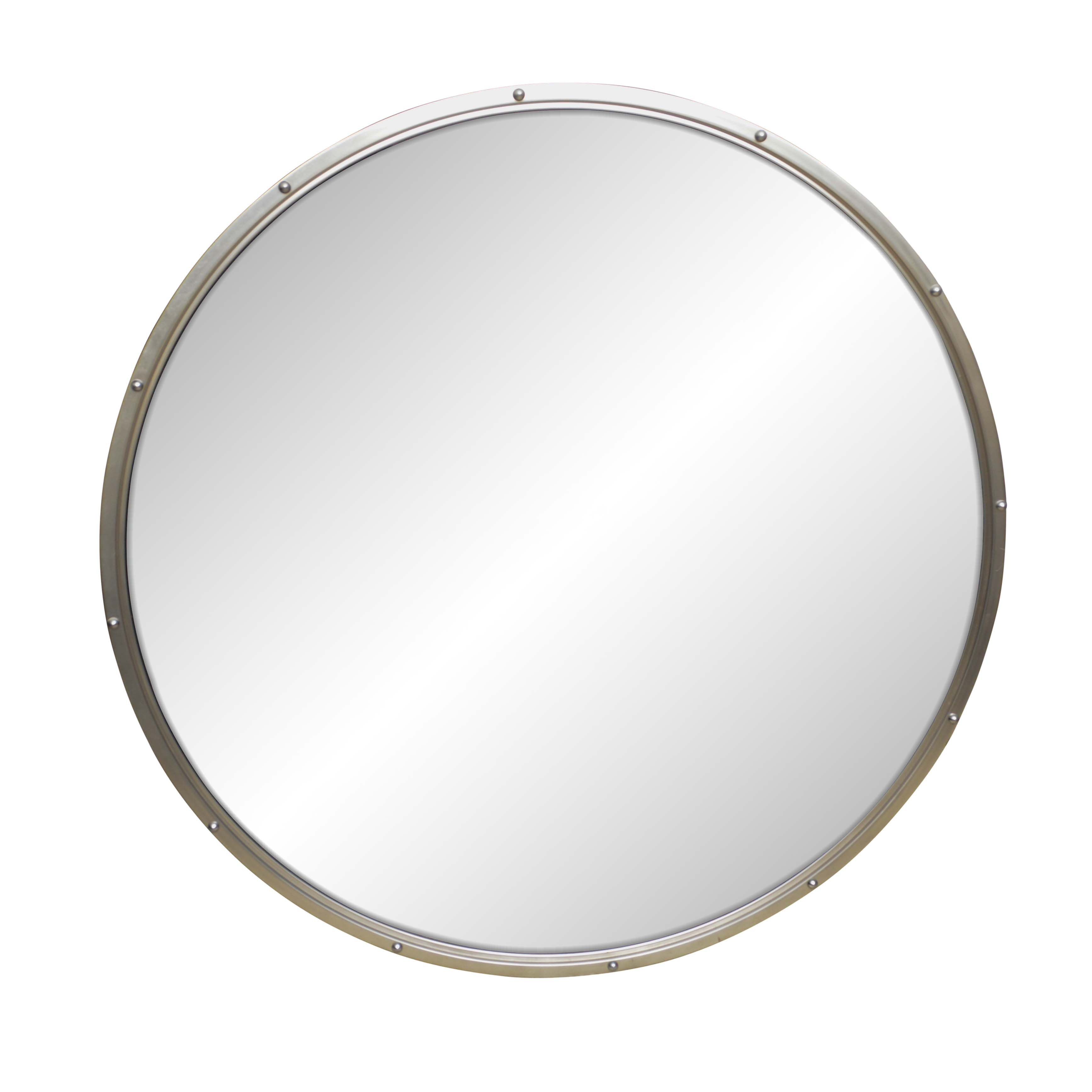 Riveted Silver Toned Metal Framed Round Wall Mirror