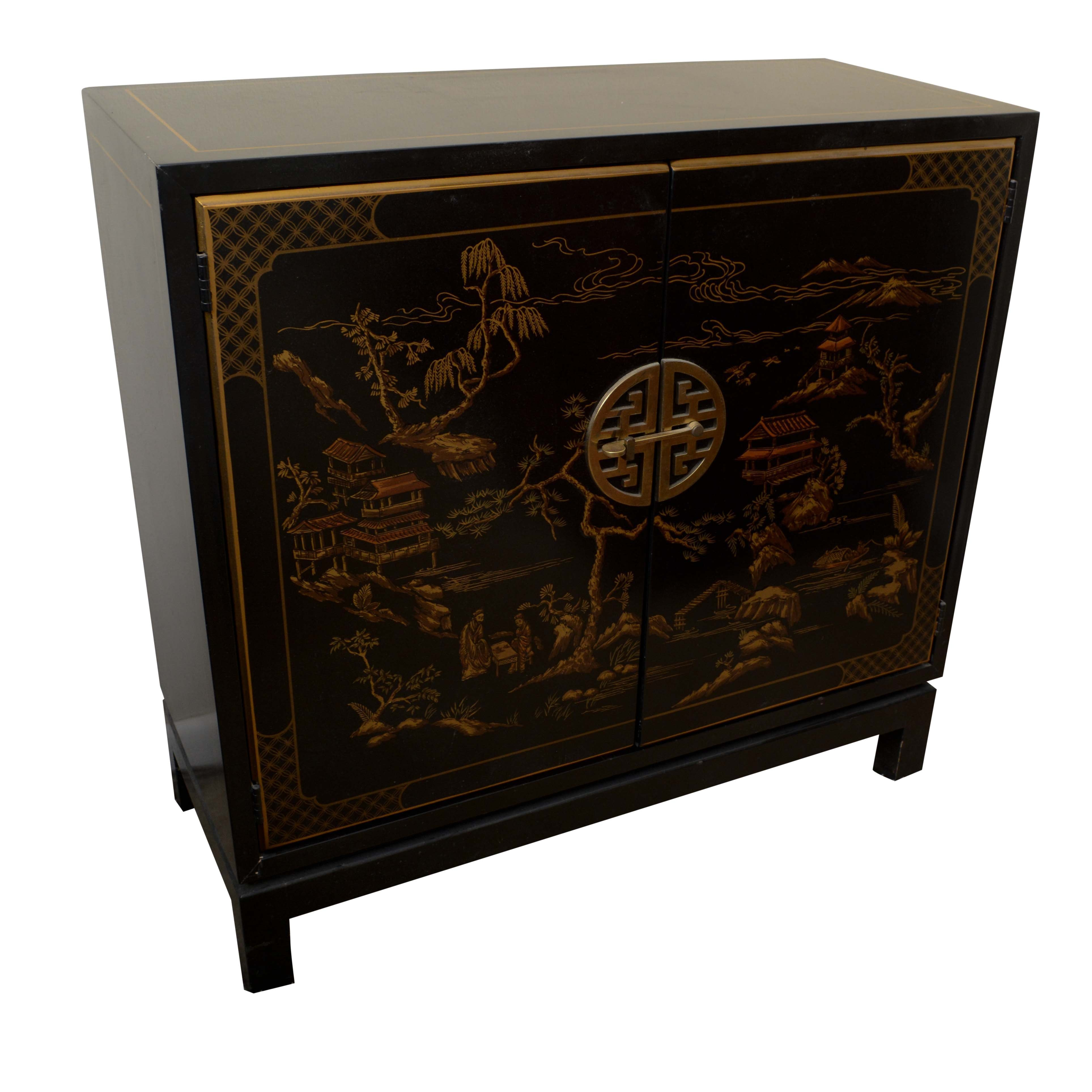 Vintage Asian Style Black Lacquered Side Cabinet