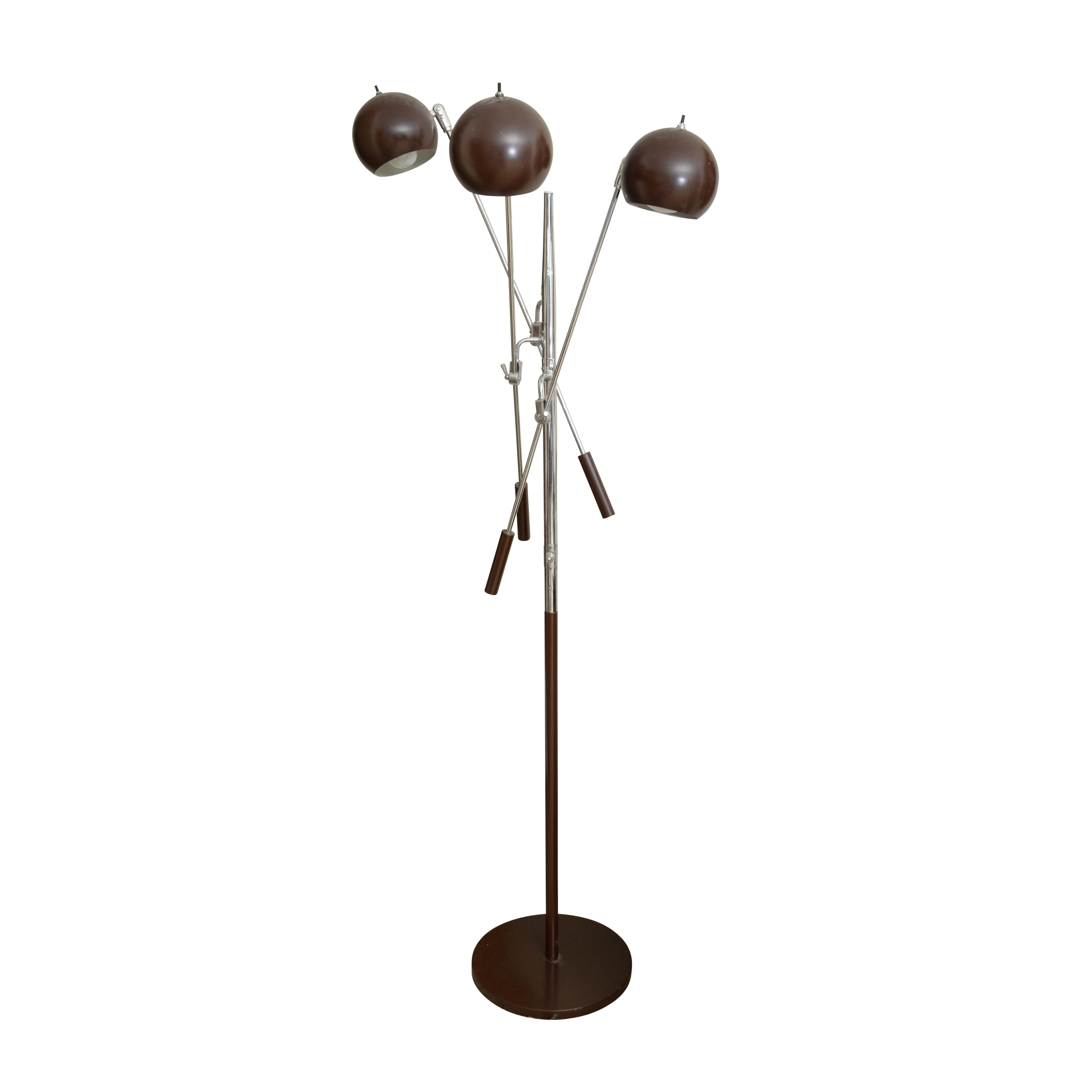 Mid-Century Style Three Arm Adjustable Eyeball Floor Lamp