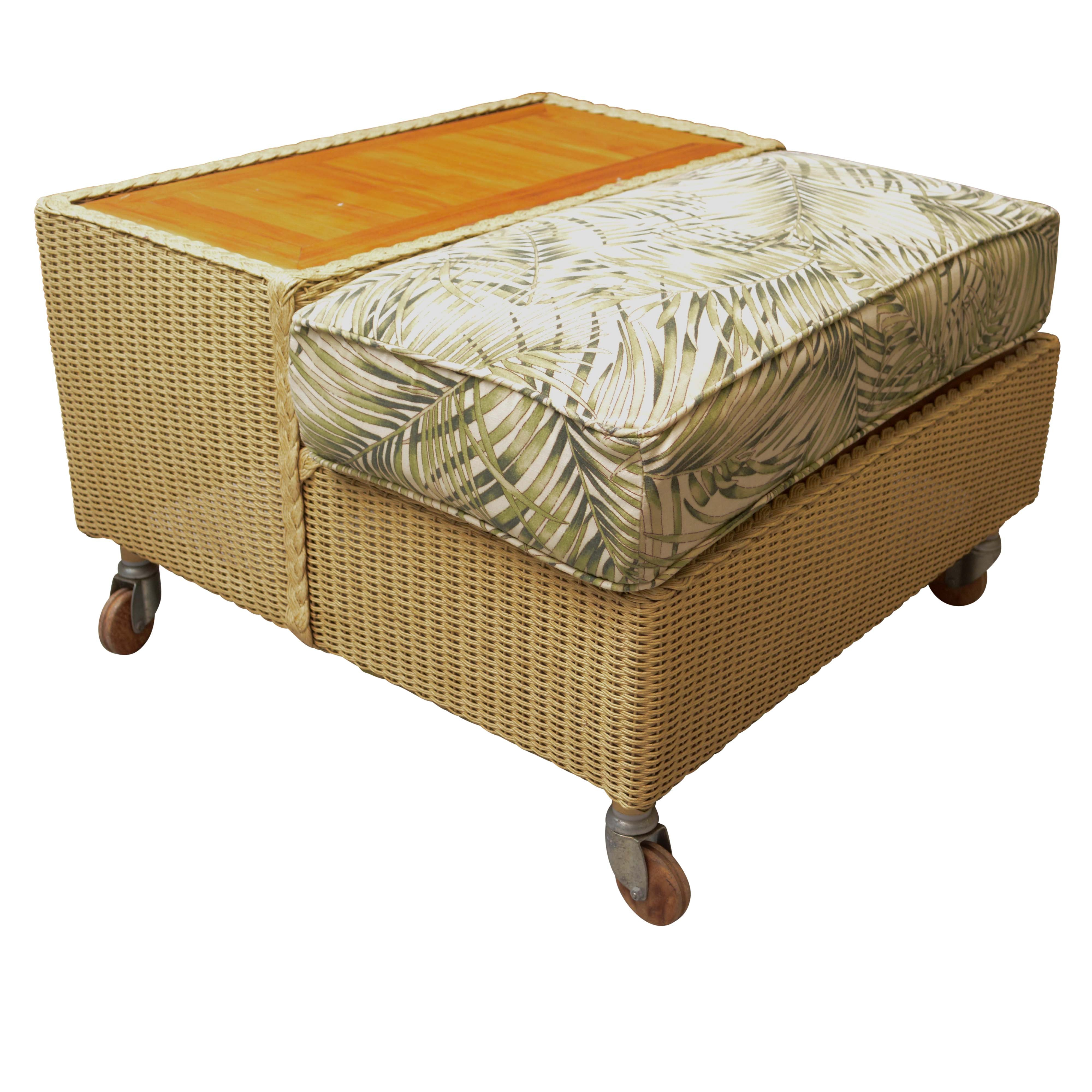 Wicker Style Weave Storage Ottoman
