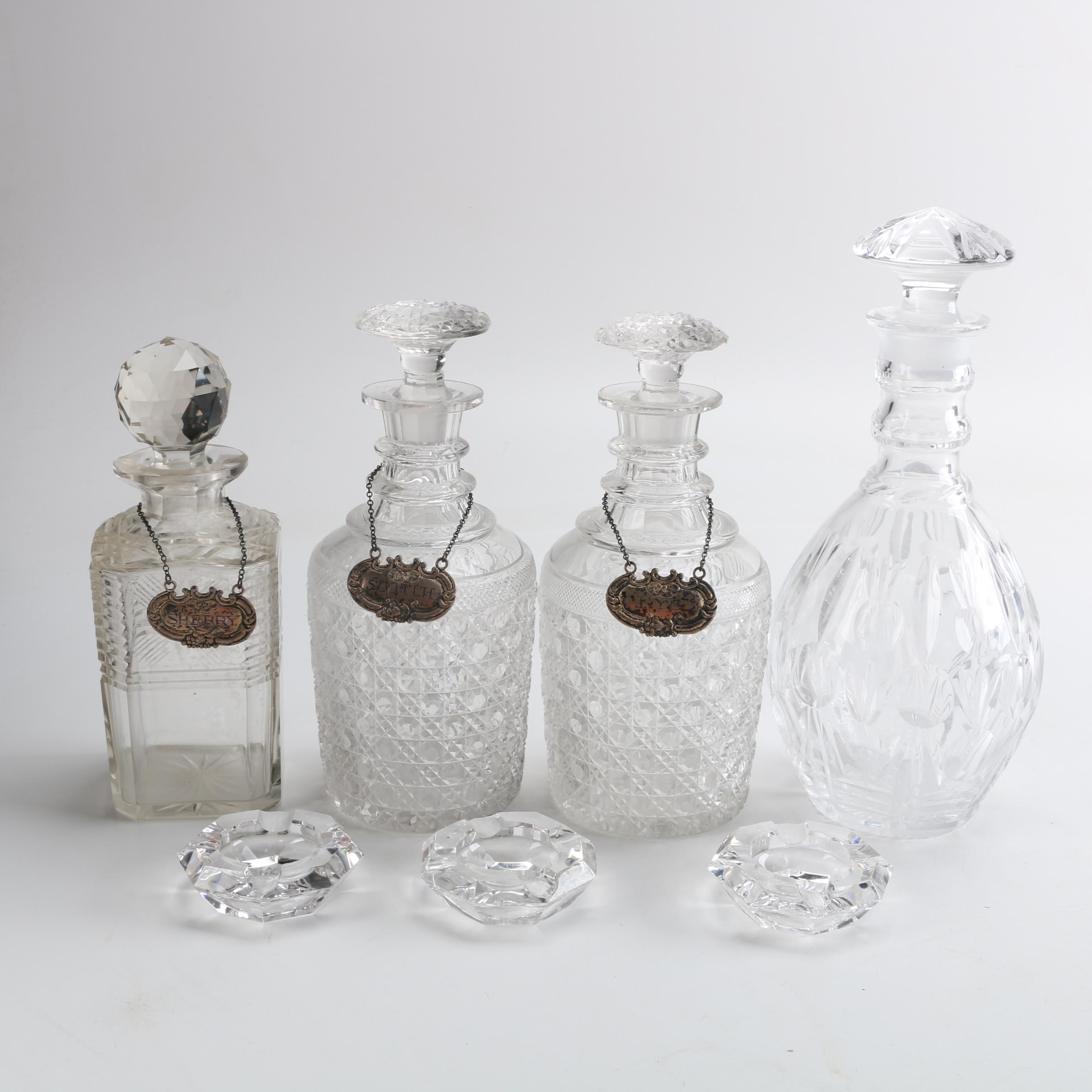 Sterling Silver Decanter Labels with Crystal Decanters and Ashtrays