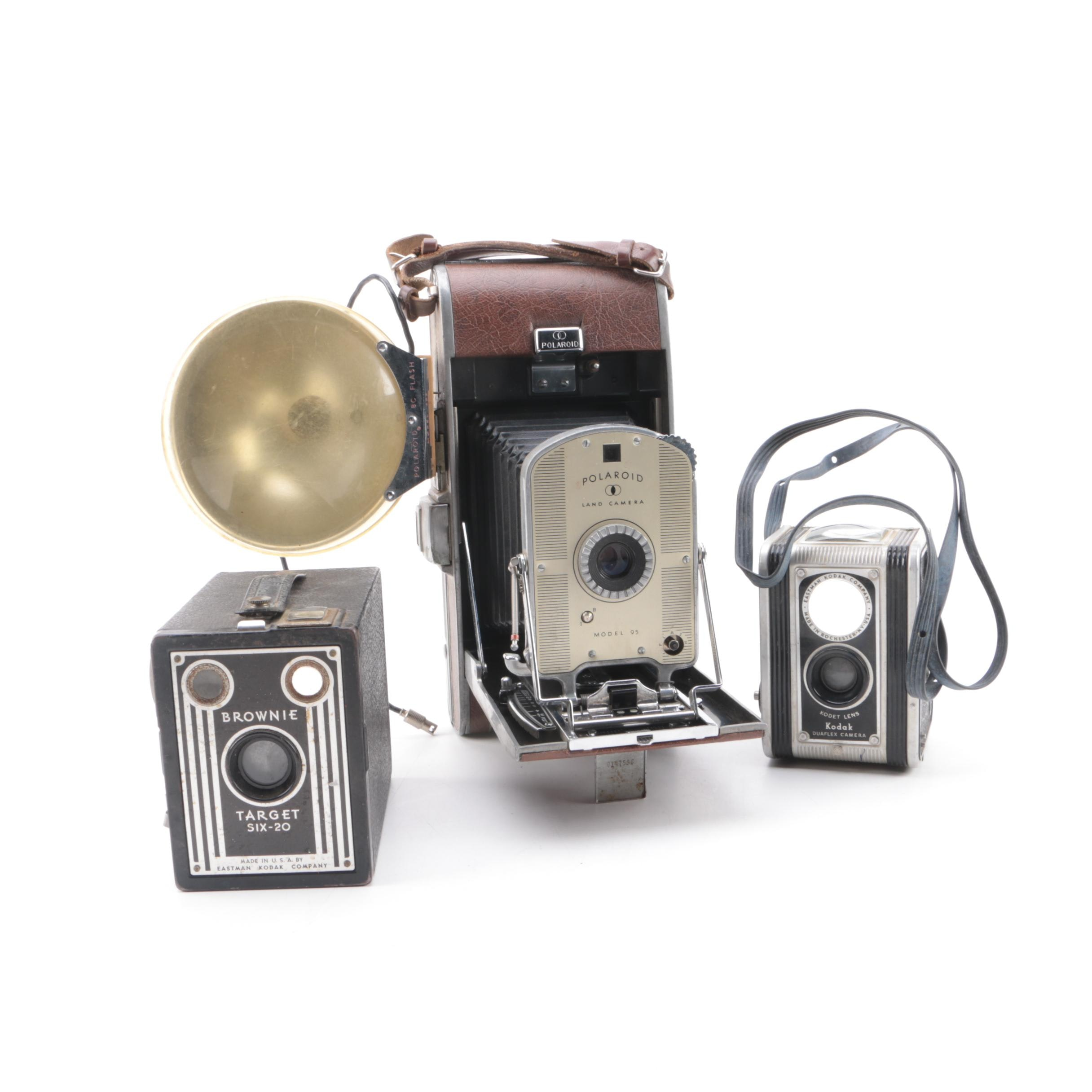 Vintage Polaroid Model 95 Land Camera with Kodak Box and TLR Cameras