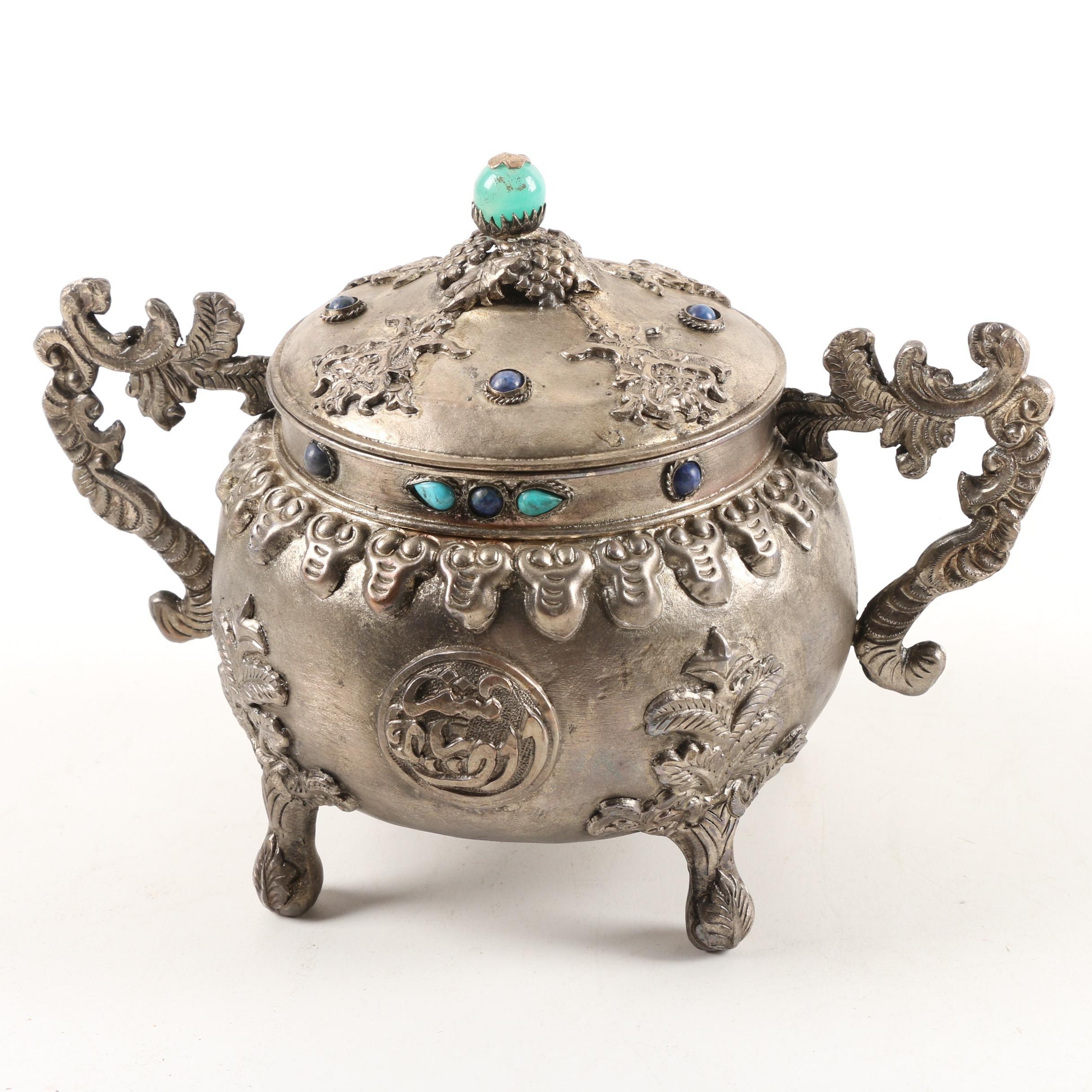Vintage Sino-Tibetan Metal, Glass and Resin Sugar Bowl
