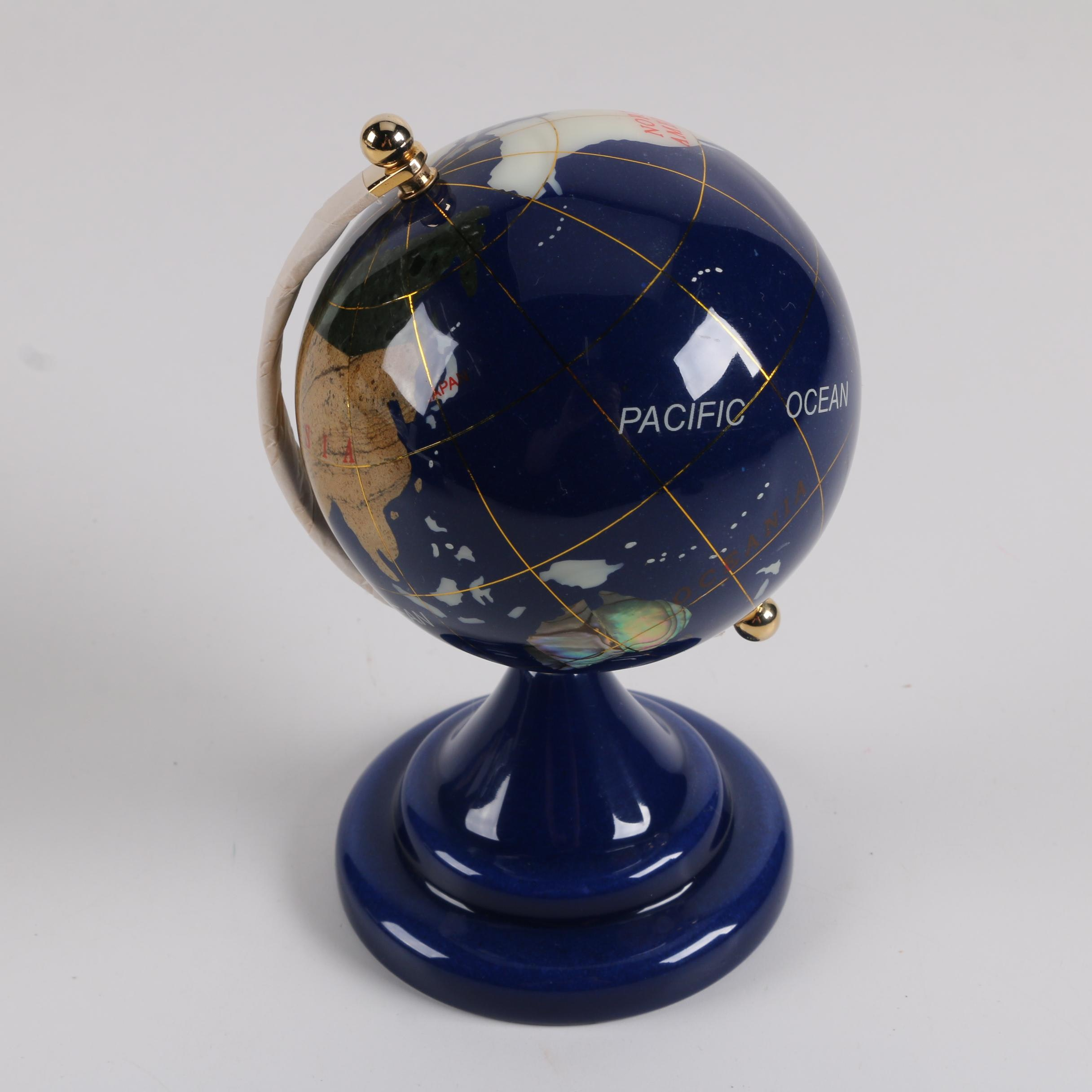Inlaid Stone and Shell Desk Globe