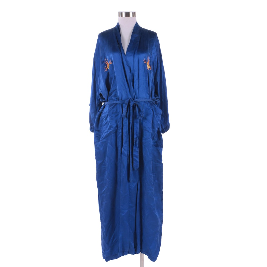 680658b3f6 Vintage Chinese Golden Dragon Hand Embroidered Blue Silk Robe Depicting  Dragon   EBTH