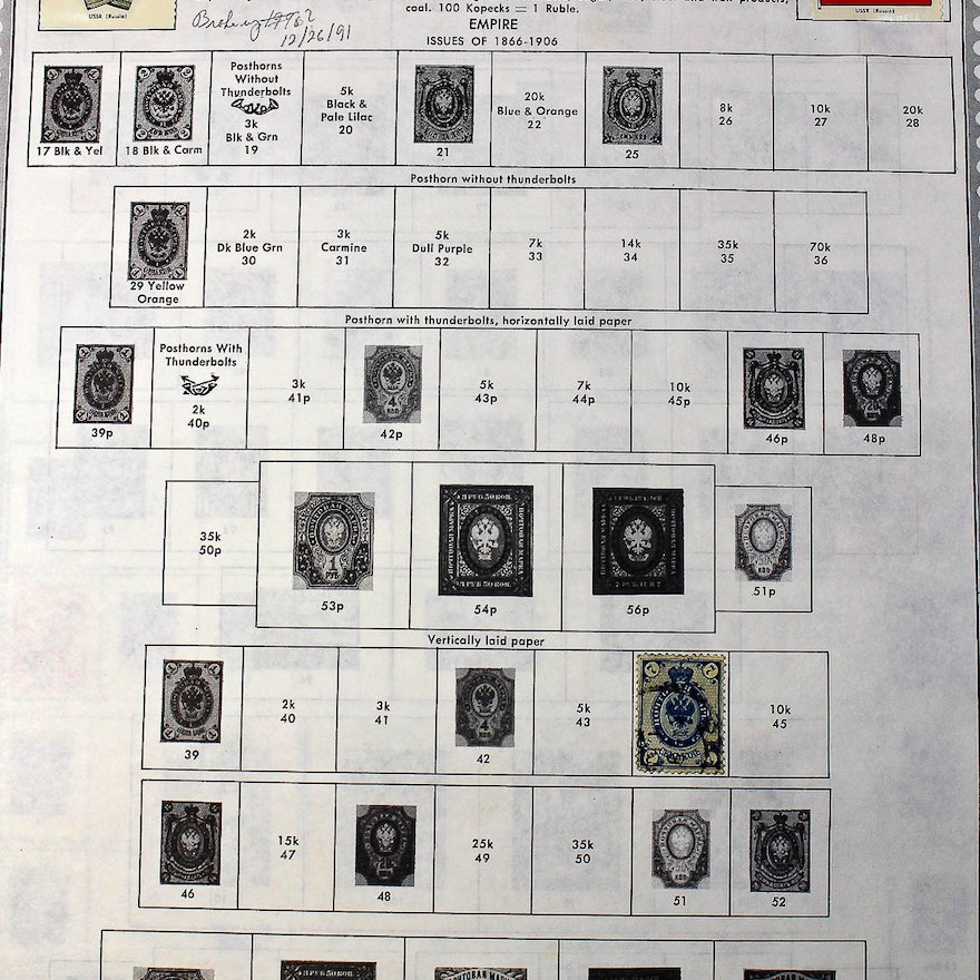 Collection of Russian Stamps Ranging from 1909 to 1996