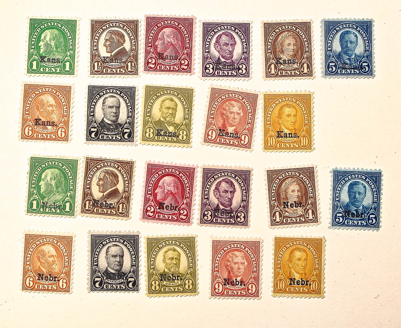 Group of Two Complete Collections of Kansas and Nebraska 1929 Stamps