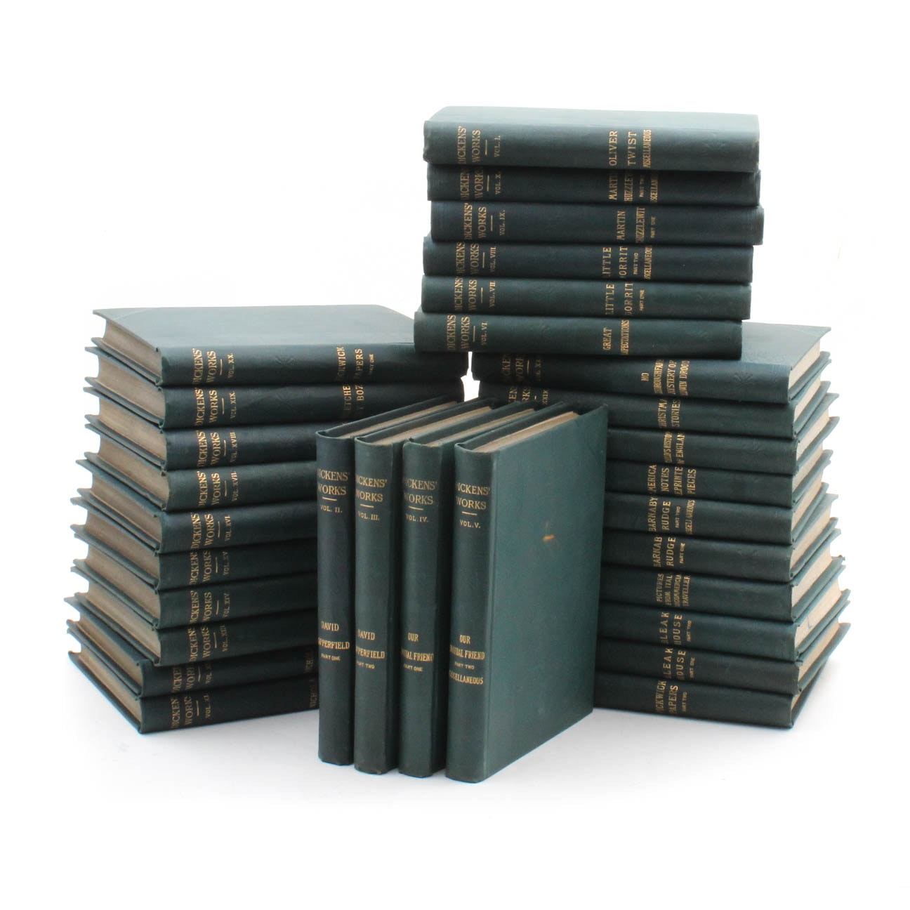 """Antique """"The Works of Charles Dickens"""" Thirty Volume Set"""