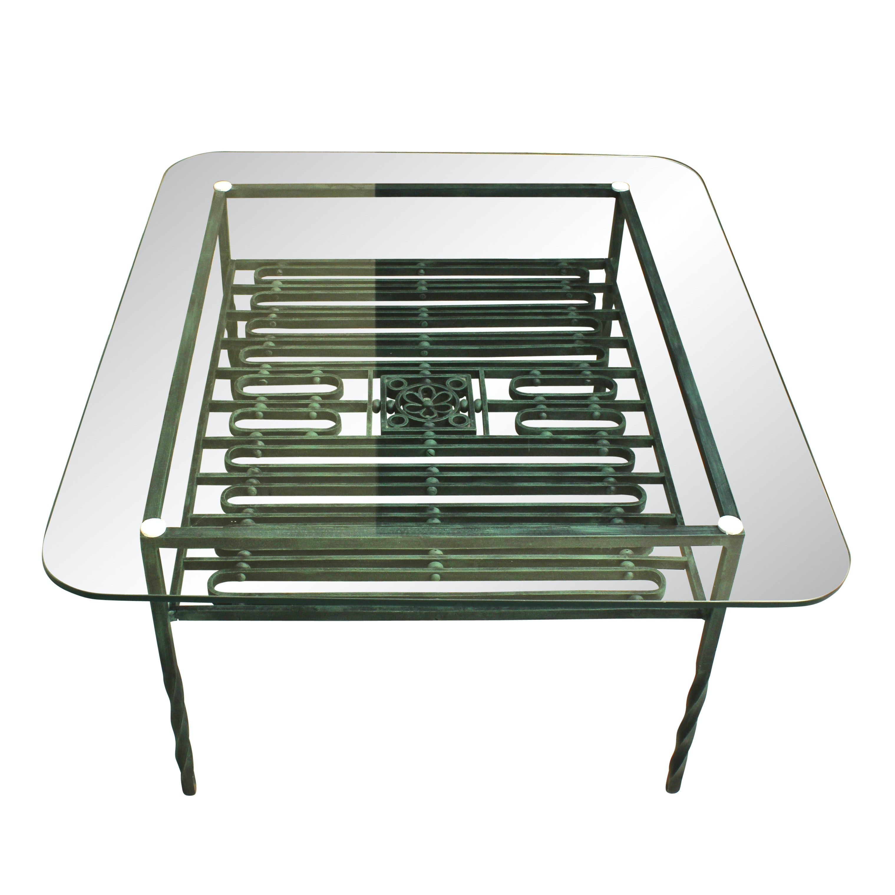Glass Top and Iron Coffee Table