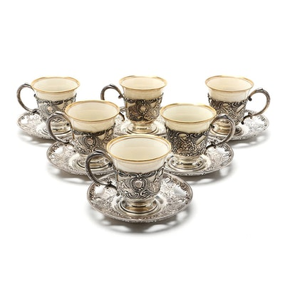 Bailey, Banks and Biddle Sterling Demitasse Cups with Lenox Cups