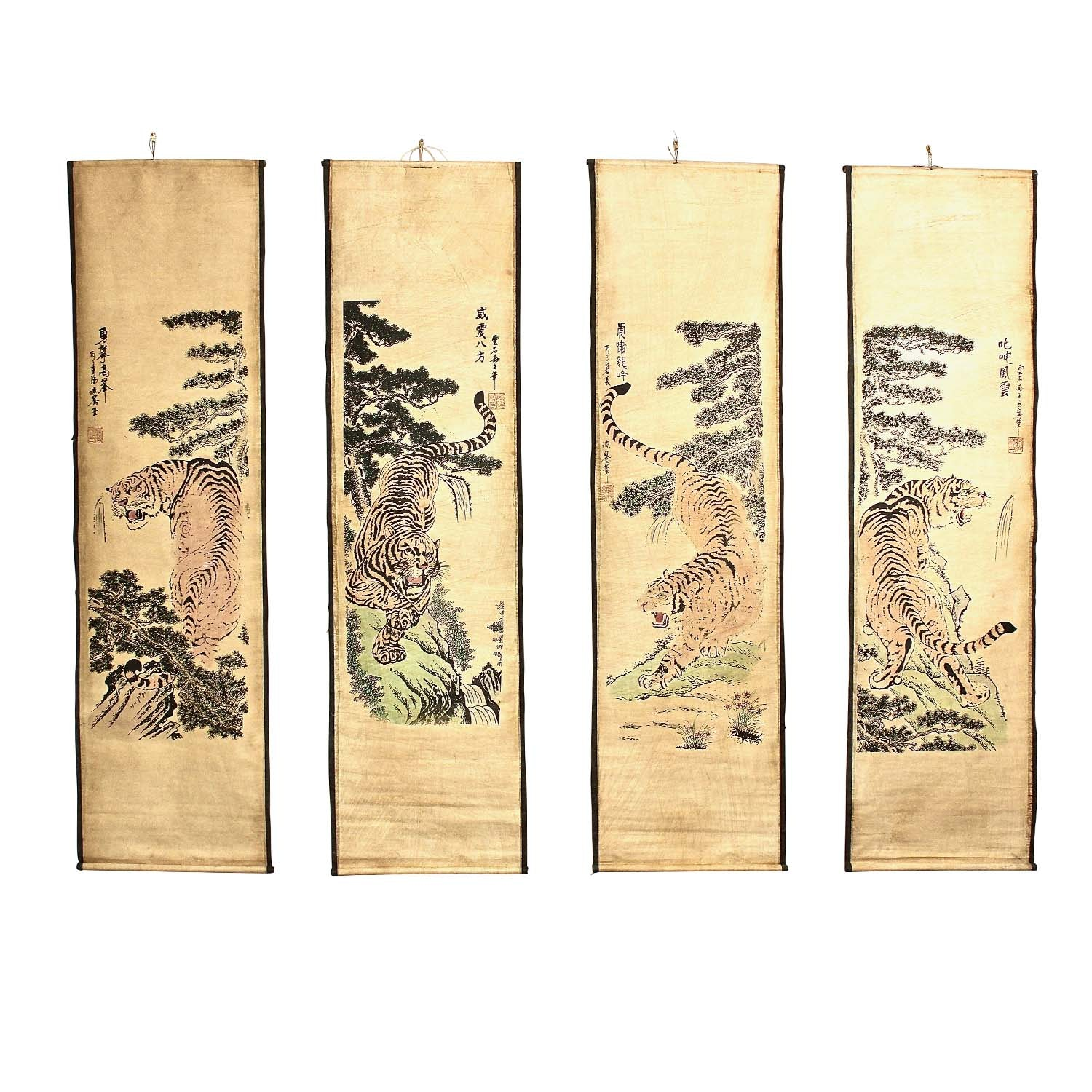 Chinese Printed Hanging Scrolls of Tigers