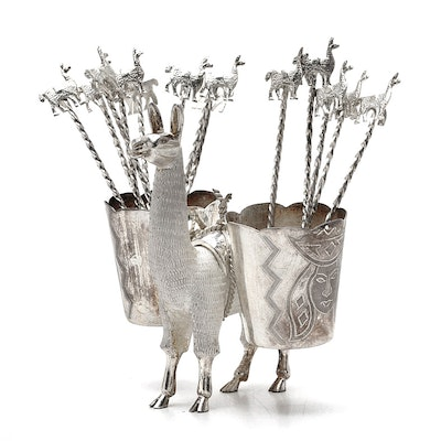 Peruvian MML Sterling Silver Llama Stand and Cocktail Picks
