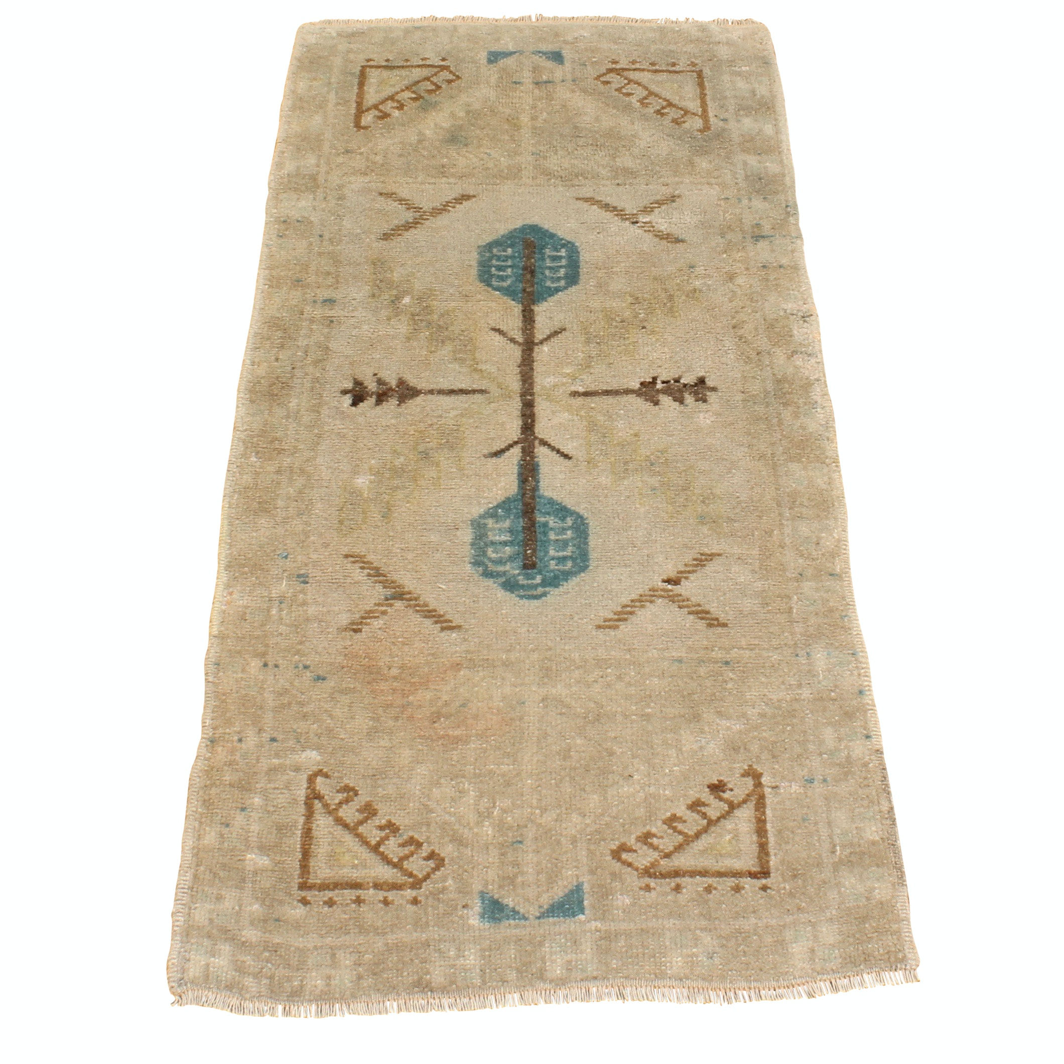 Semi-Antique Hand-Knotted Tribal Anatolian Wool Area Rug