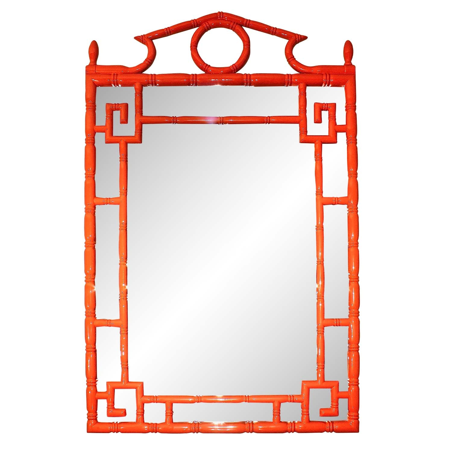 Chinese Inspired Bamboo-Style Wall Mirror