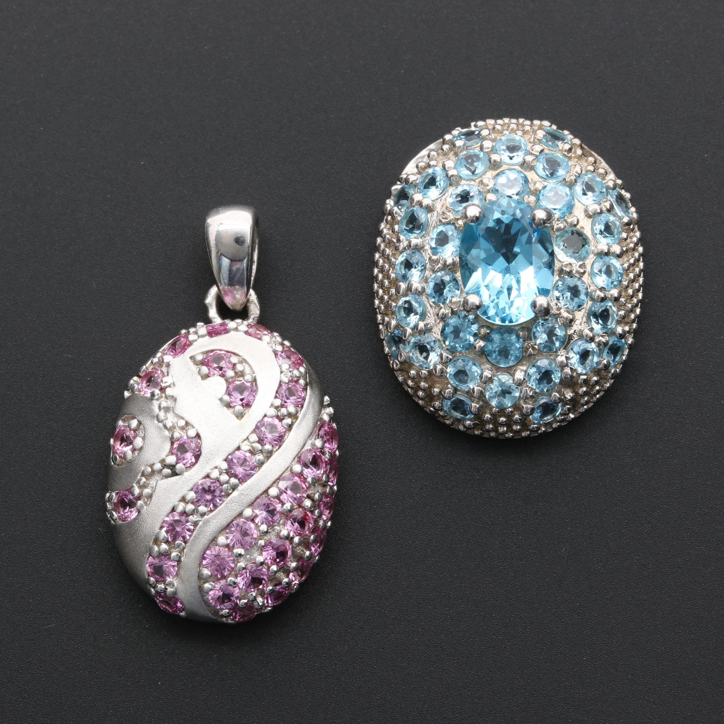 Sterling Silver Synthetic Pink Sapphire and Topaz Pendants