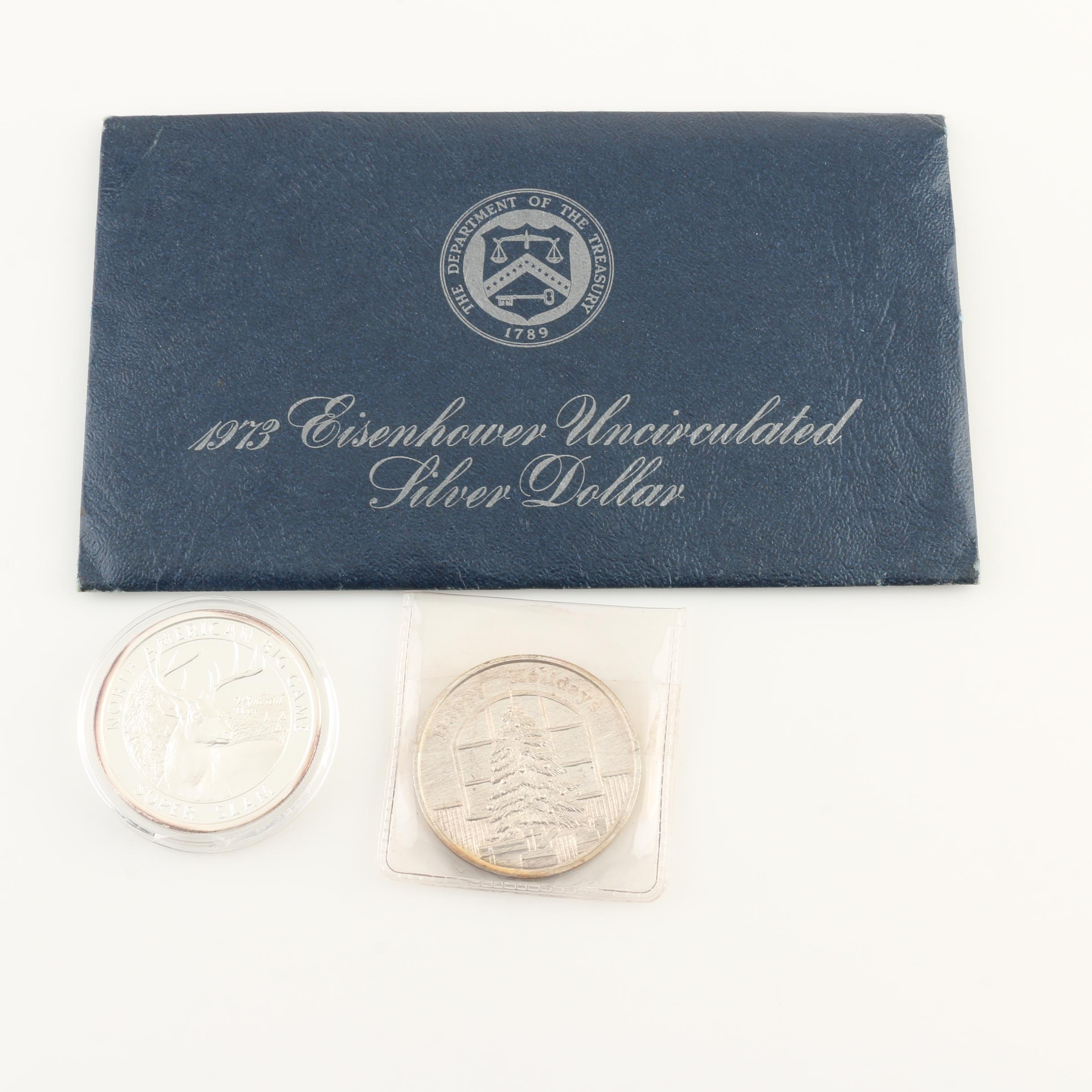 1973-S Eisenhower Uncirculated Silver Dollar and Two 1 Ounce Silver Rounds