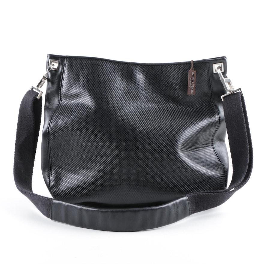 Bottega Veneta Black Textured Leather Shoulder Bag   EBTH 7e915bce9f8d7