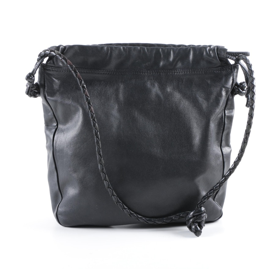 Bottega Veneta Black Leather Drawstring Bag   EBTH d82a8789bc2c1