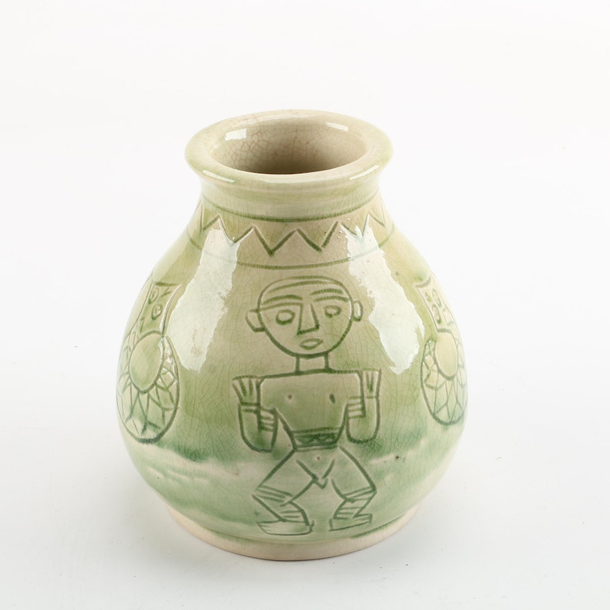 Ceramic Vase With Stylized Incised Designs Ebth