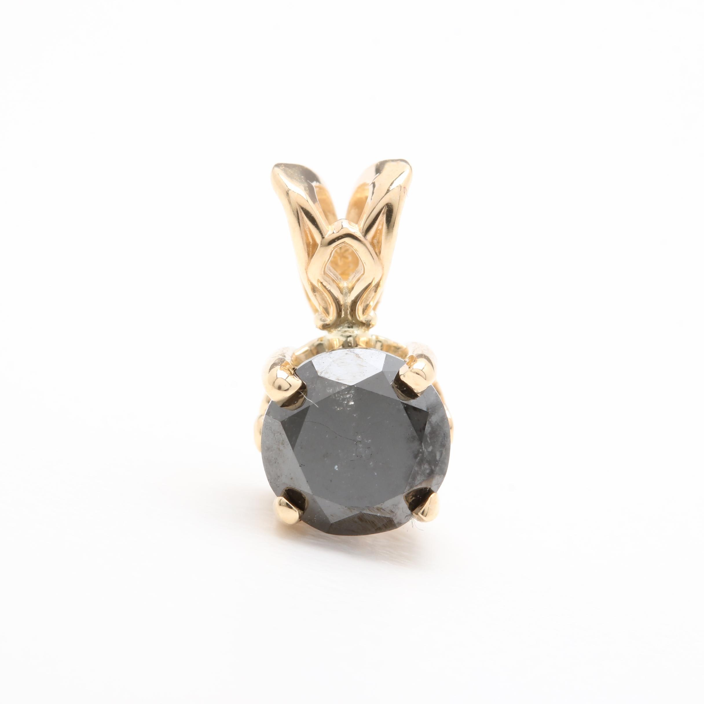 14K Yellow Gold 1.05 CT Black Diamond Pendant