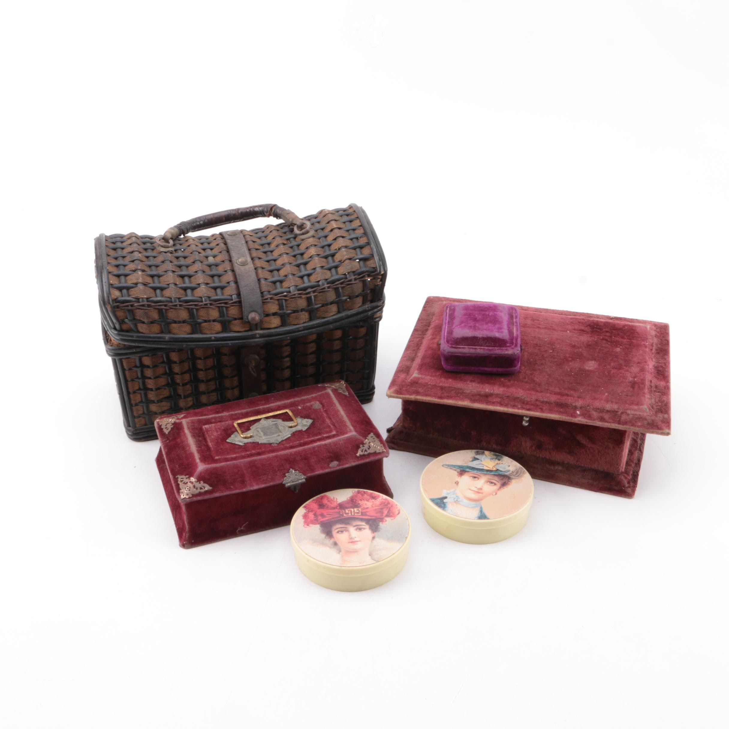 Vintage Decorative Boxes and Sewing Basket