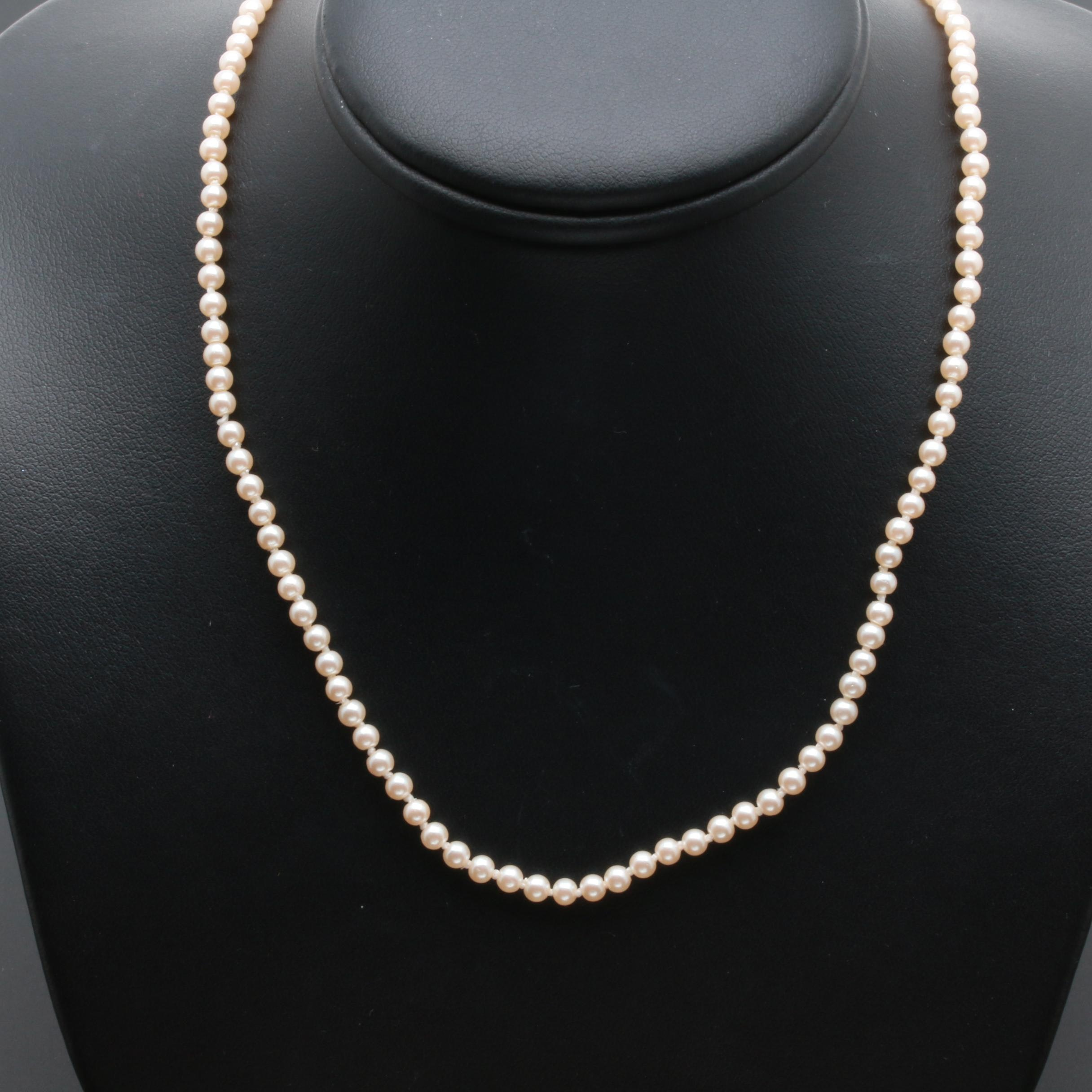 14K and 18K Yellow Gold Cultured Pearl Necklace