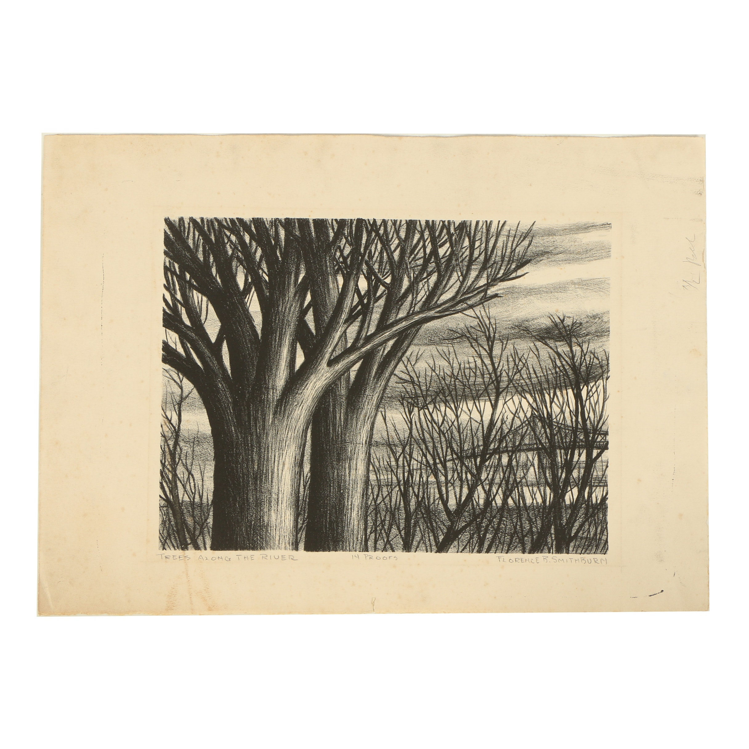 """Florence B. Smithburn Lithograph """"Trees Along the River"""""""