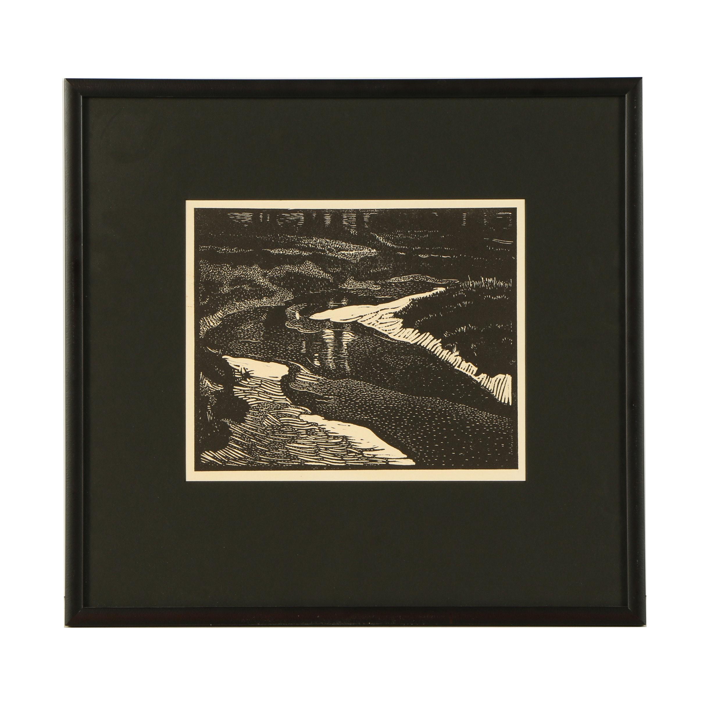 "Robert Whitmore Woodblock ""Near Yellow Springs"""