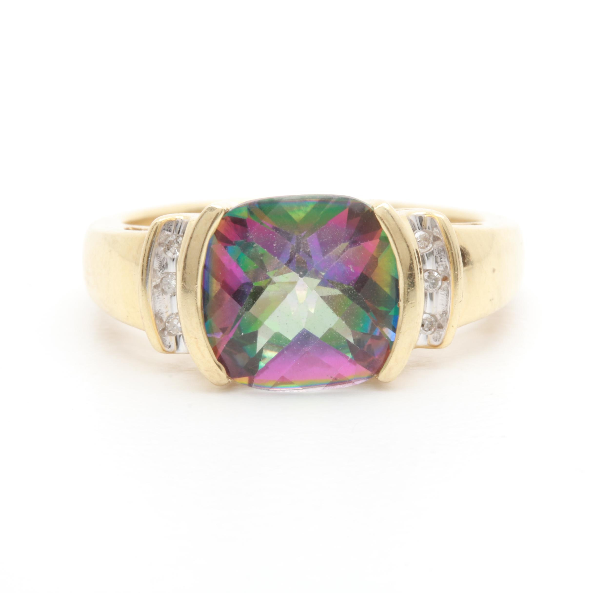 10K Yellow Gold Mystic Topaz and Diamond Ring